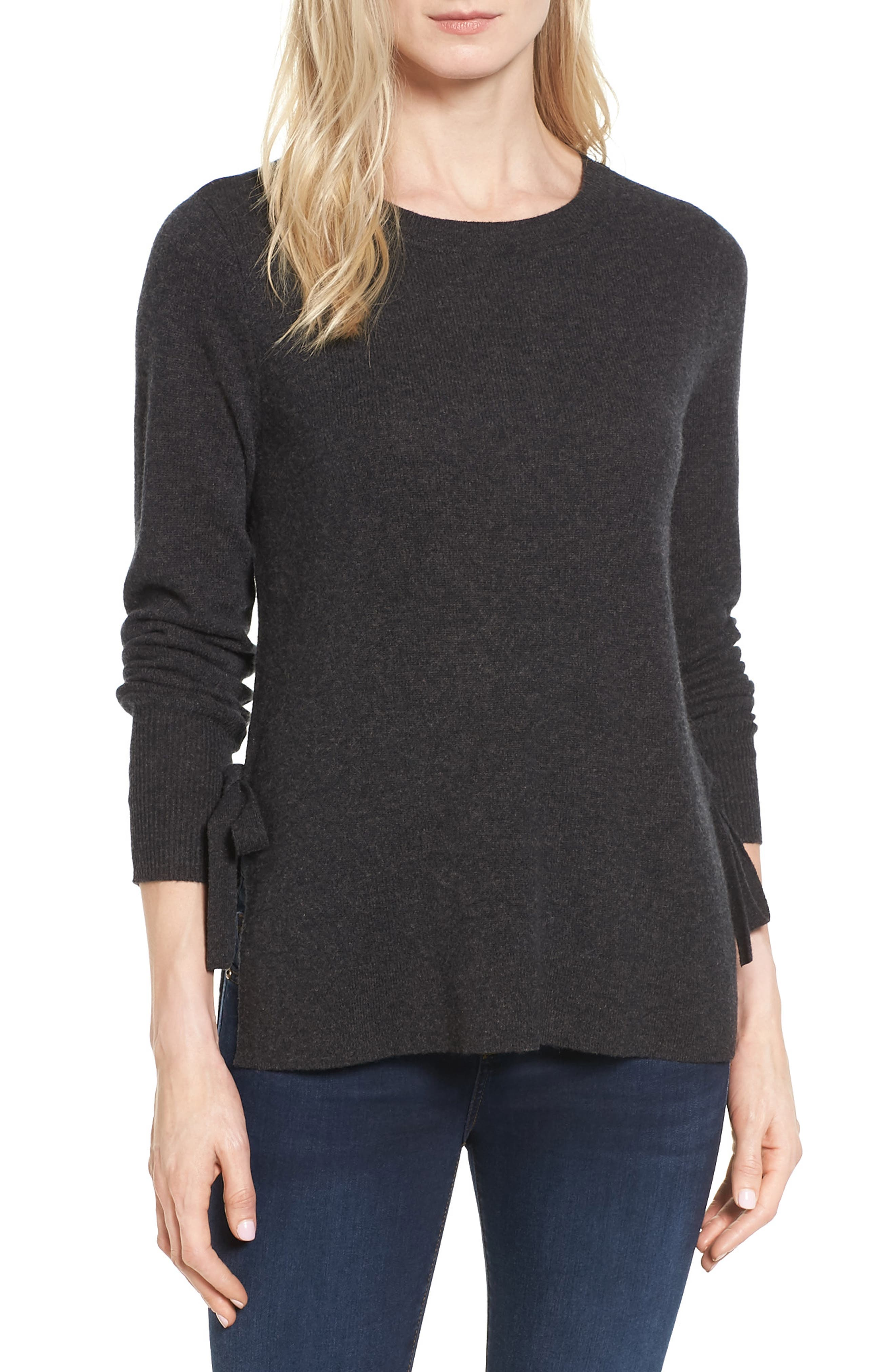 Halogen® Side Tie Cashmere Sweater (Regular & Petite)