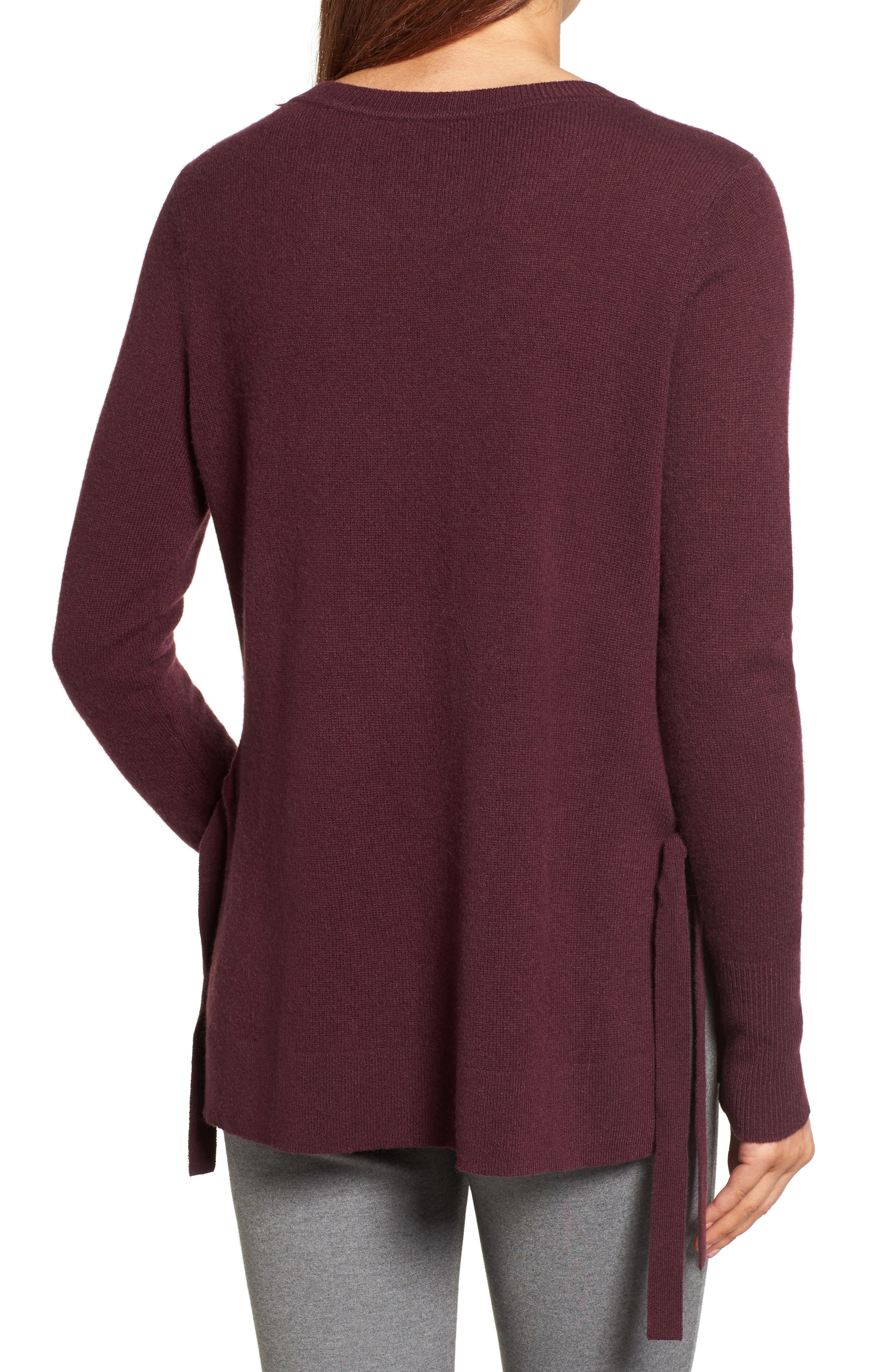 Alternate Image 2  - Halogen® Side Tie Cashmere Sweater (Regular & Petite)