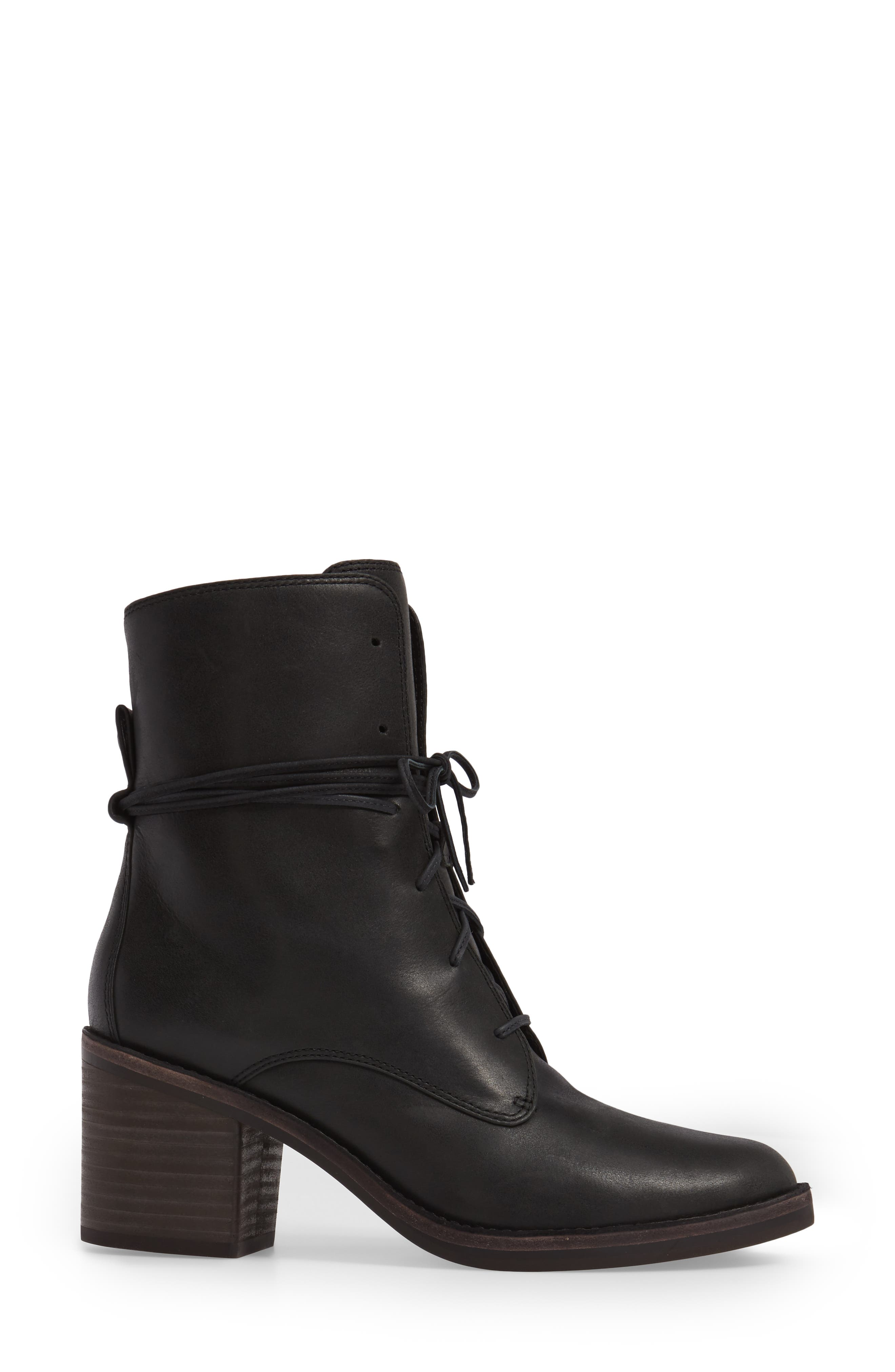 Oriana Lace-Up Boot,                             Alternate thumbnail 3, color,                             Black Leather