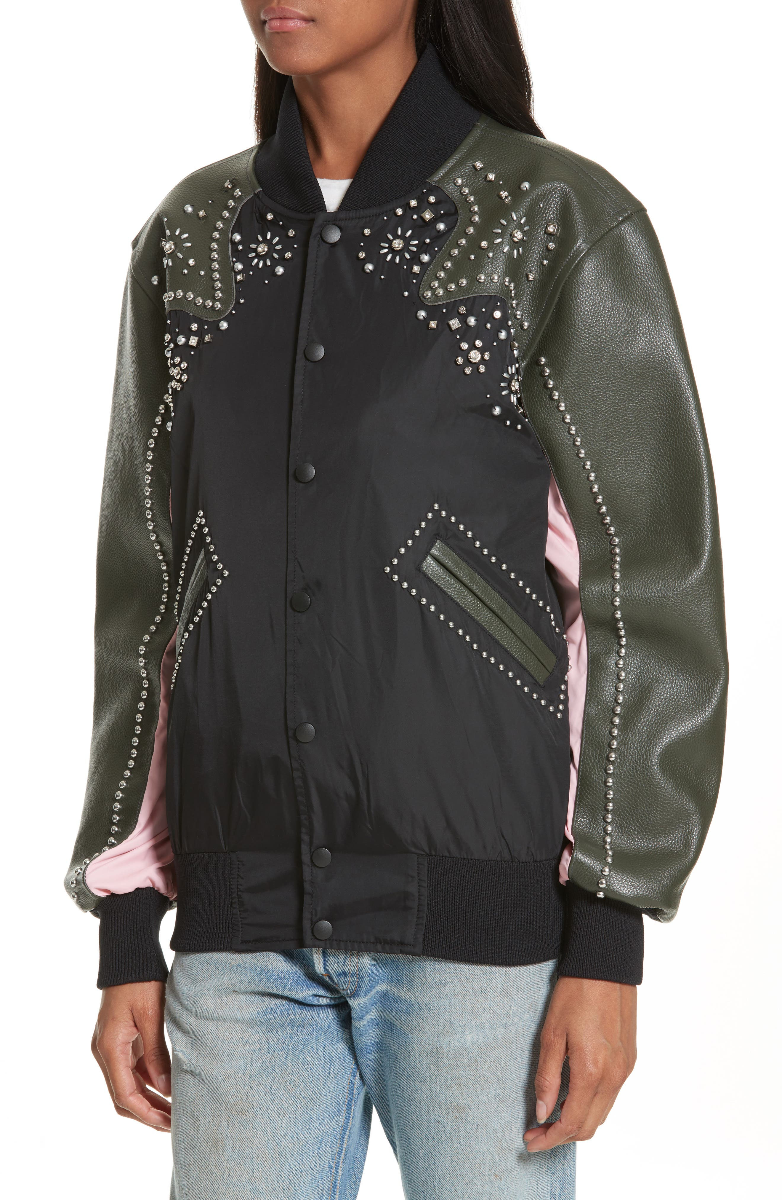 Studded Western Varsity Jacket,                             Alternate thumbnail 4, color,                             Black Multi