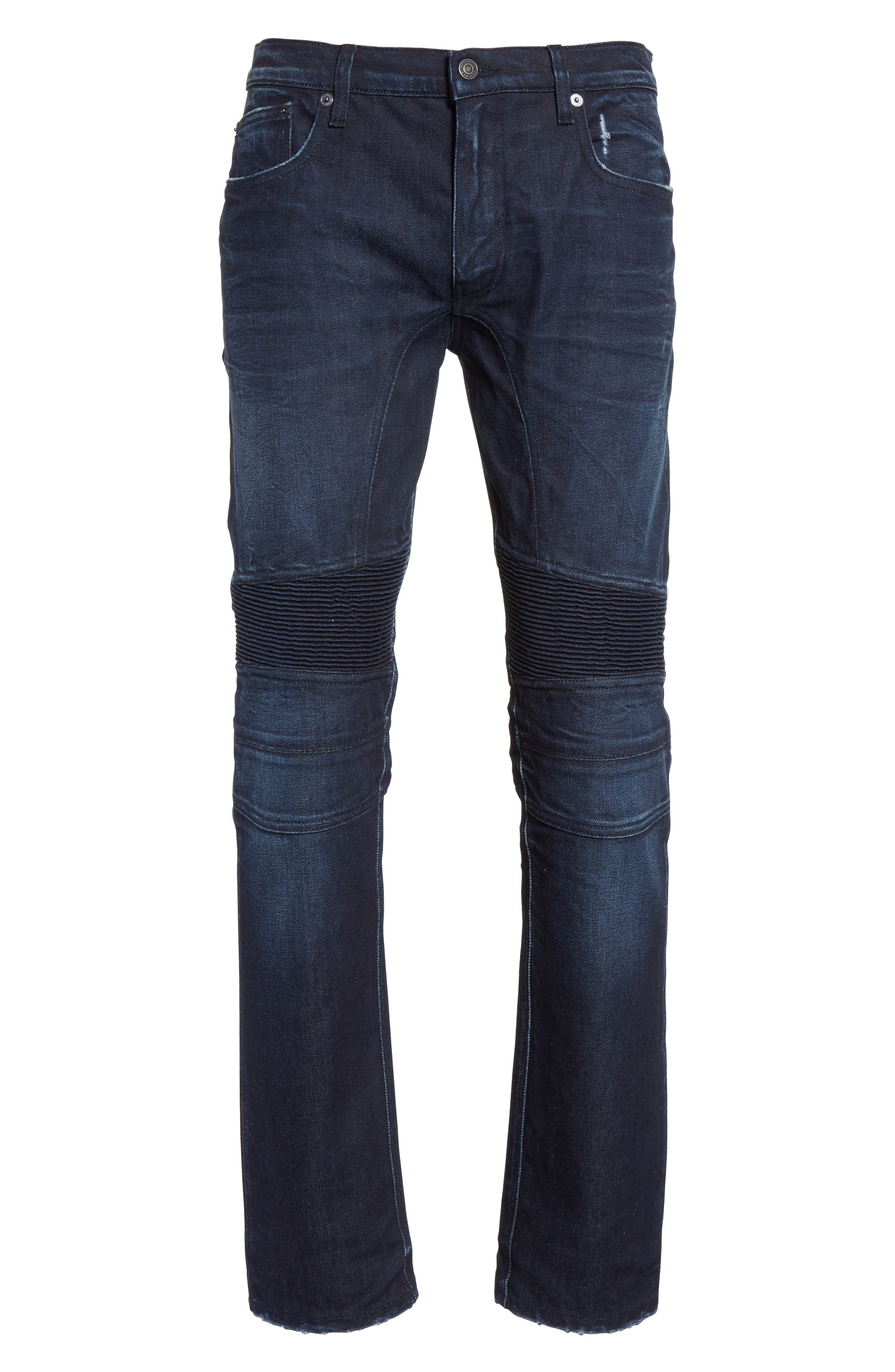 Eastham Washed Moto Jeans,                             Alternate thumbnail 6, color,                             Faded Indigo Blue