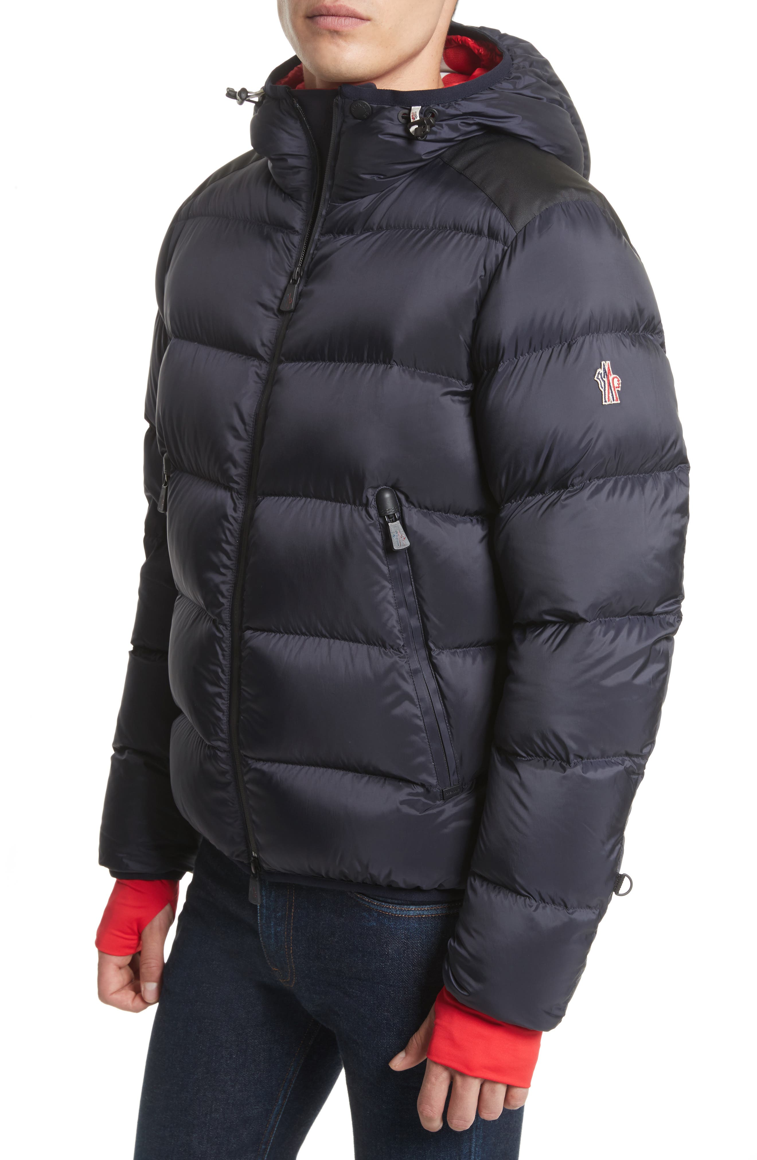 Grenoble Hintertux Hooded Down Jacket,                         Main,                         color, Navy/ Red
