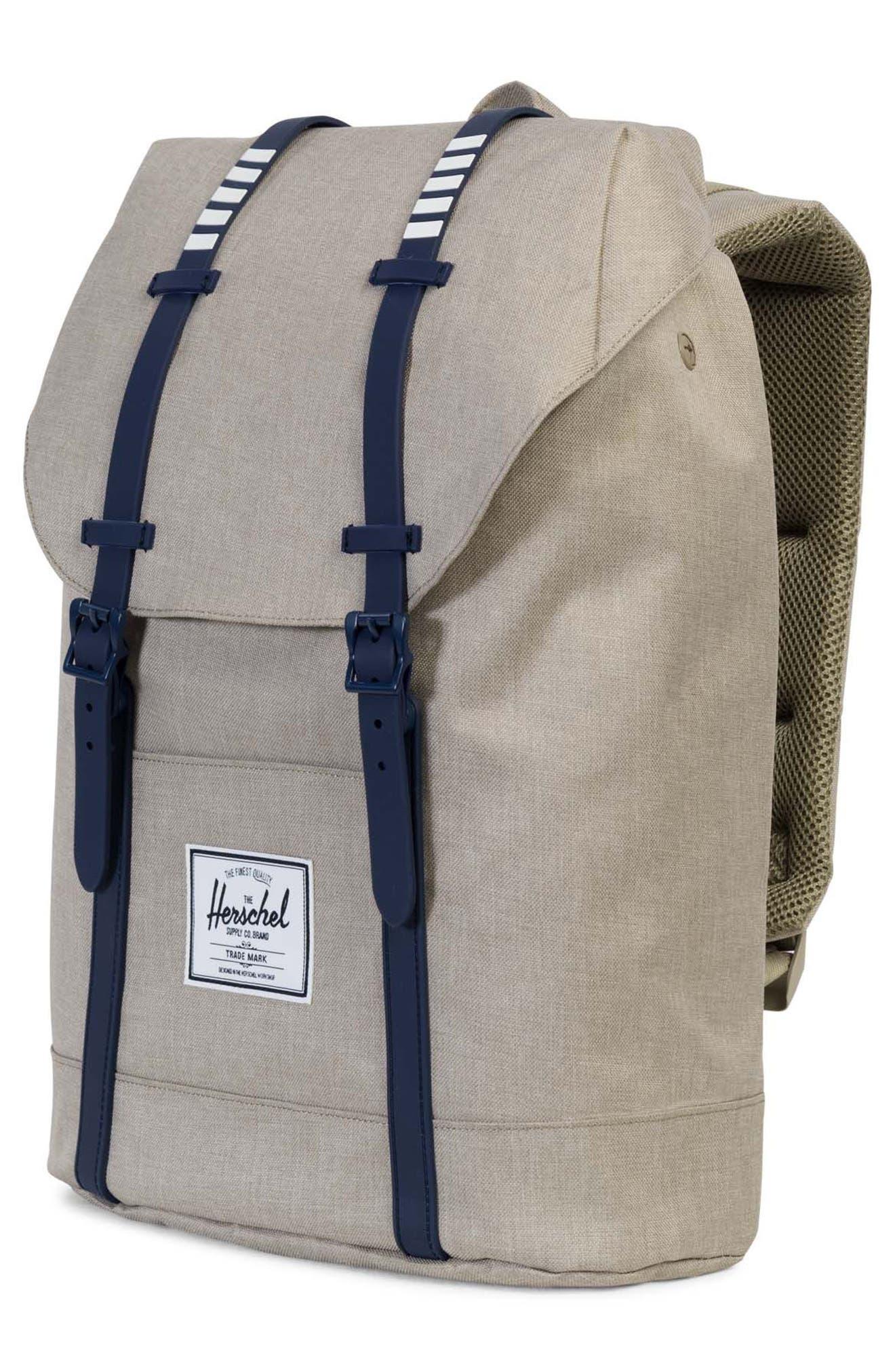 'Retreat' Backpack,                             Alternate thumbnail 4, color,                             Light Khaki Crosshatch