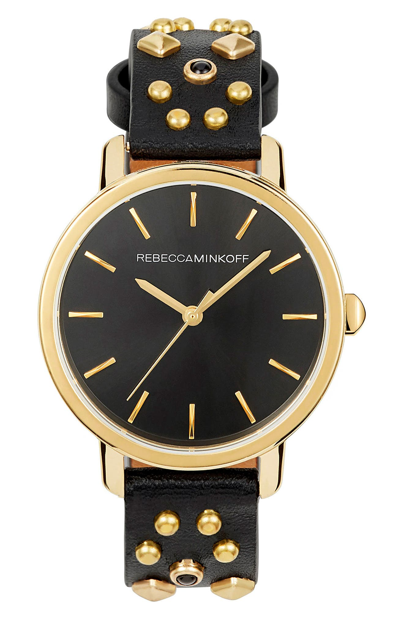 BFFL Studded Leather Strap Watch, 36mm,                         Main,                         color, Black/ Gold