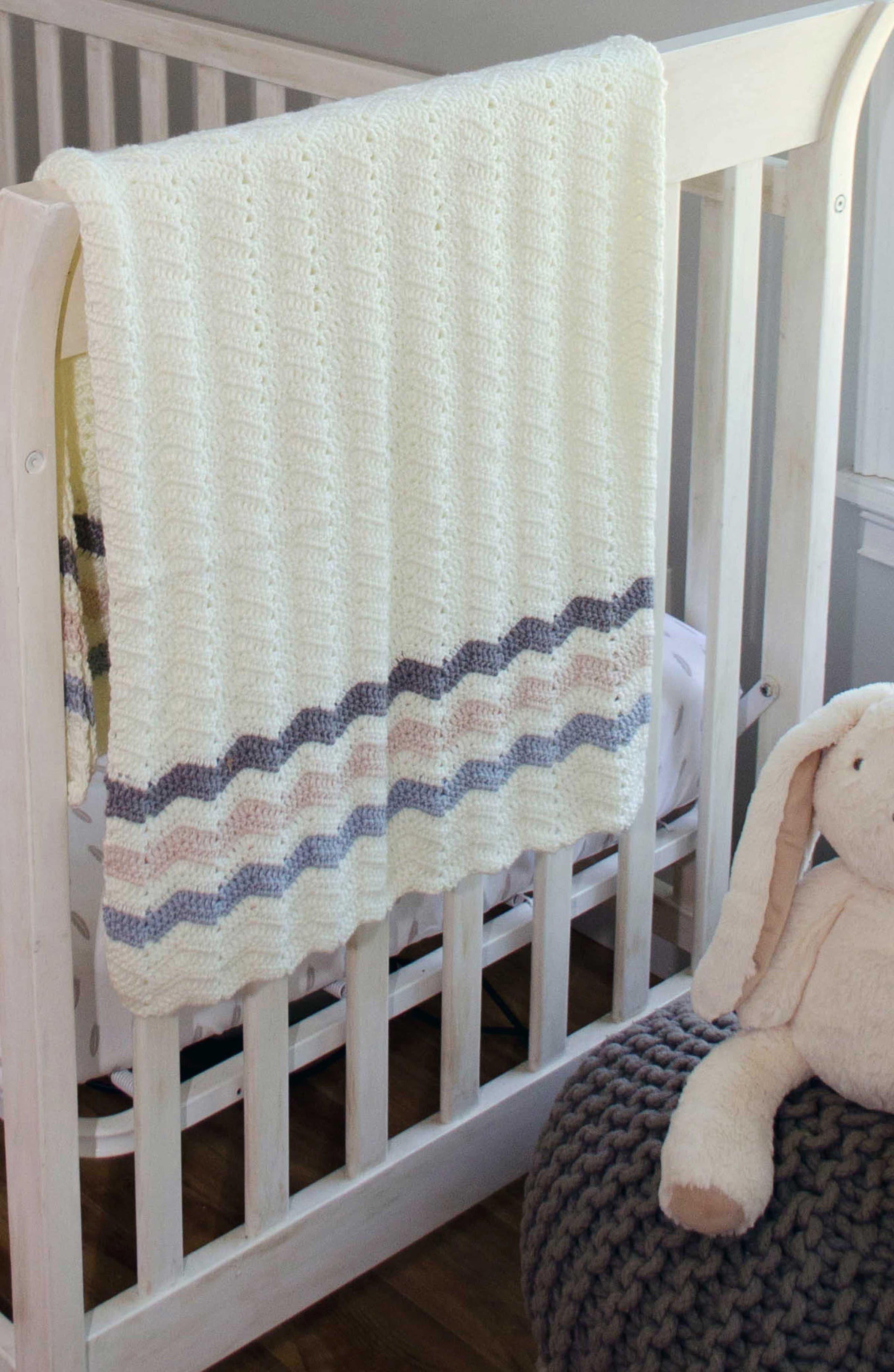 Ripple Crocheted Blanket,                             Alternate thumbnail 7, color,                             Blue