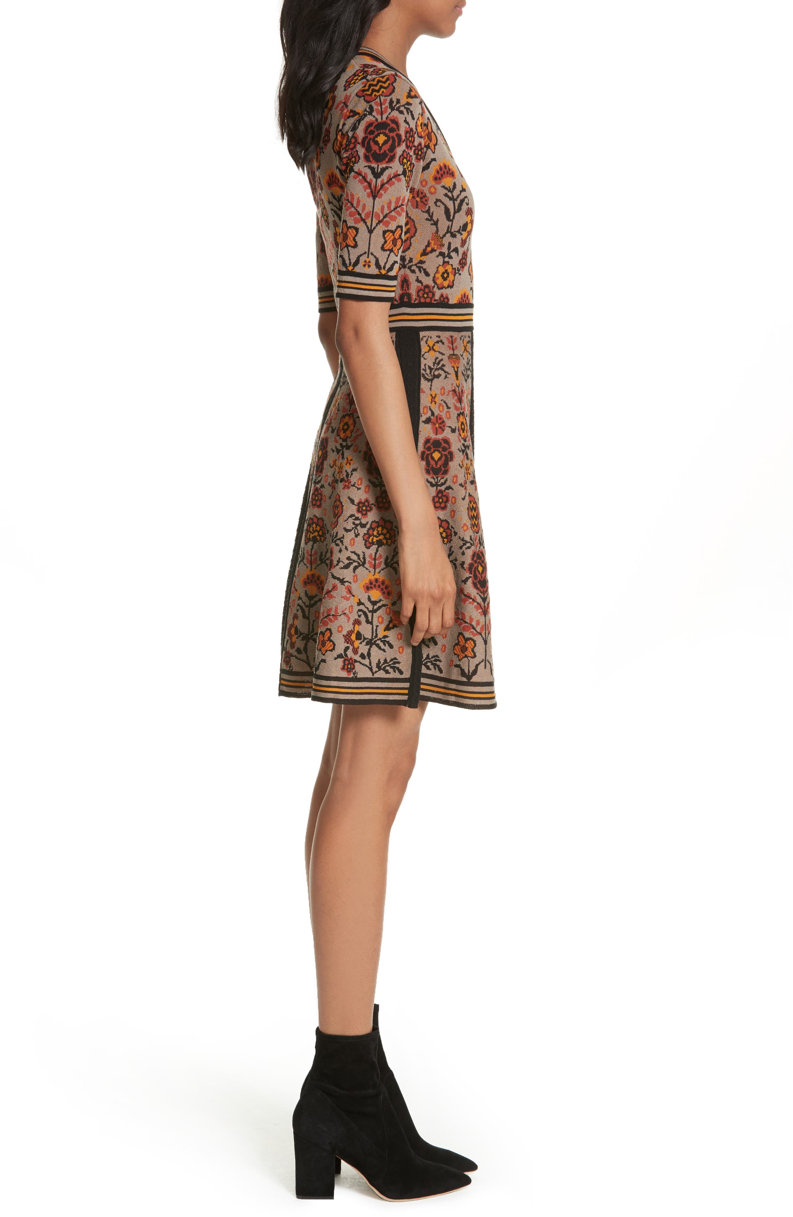 Floral Jacquard Knit Dress,                             Alternate thumbnail 3, color,                             Taupe