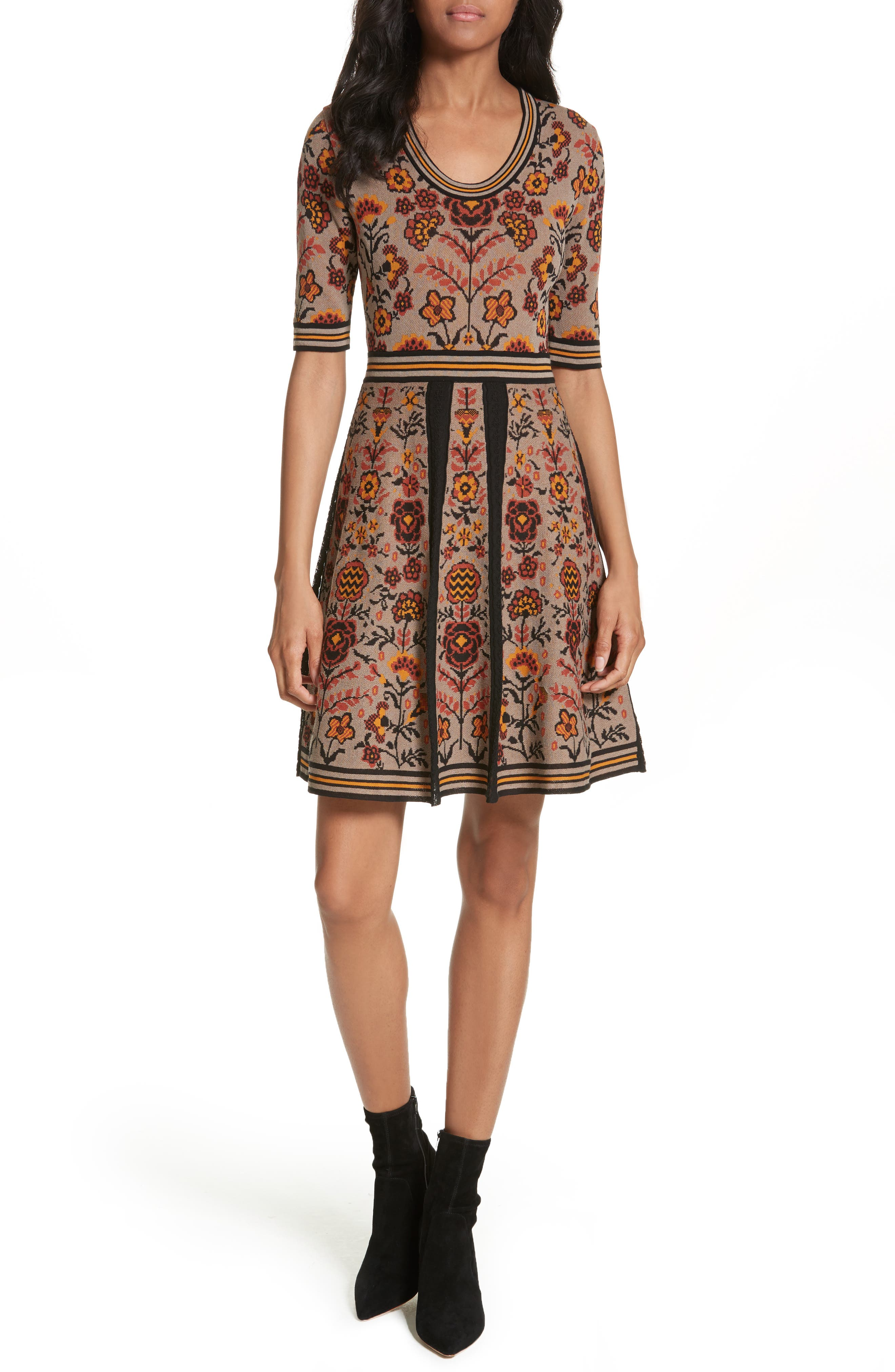 Floral Jacquard Knit Dress,                             Main thumbnail 1, color,                             Taupe