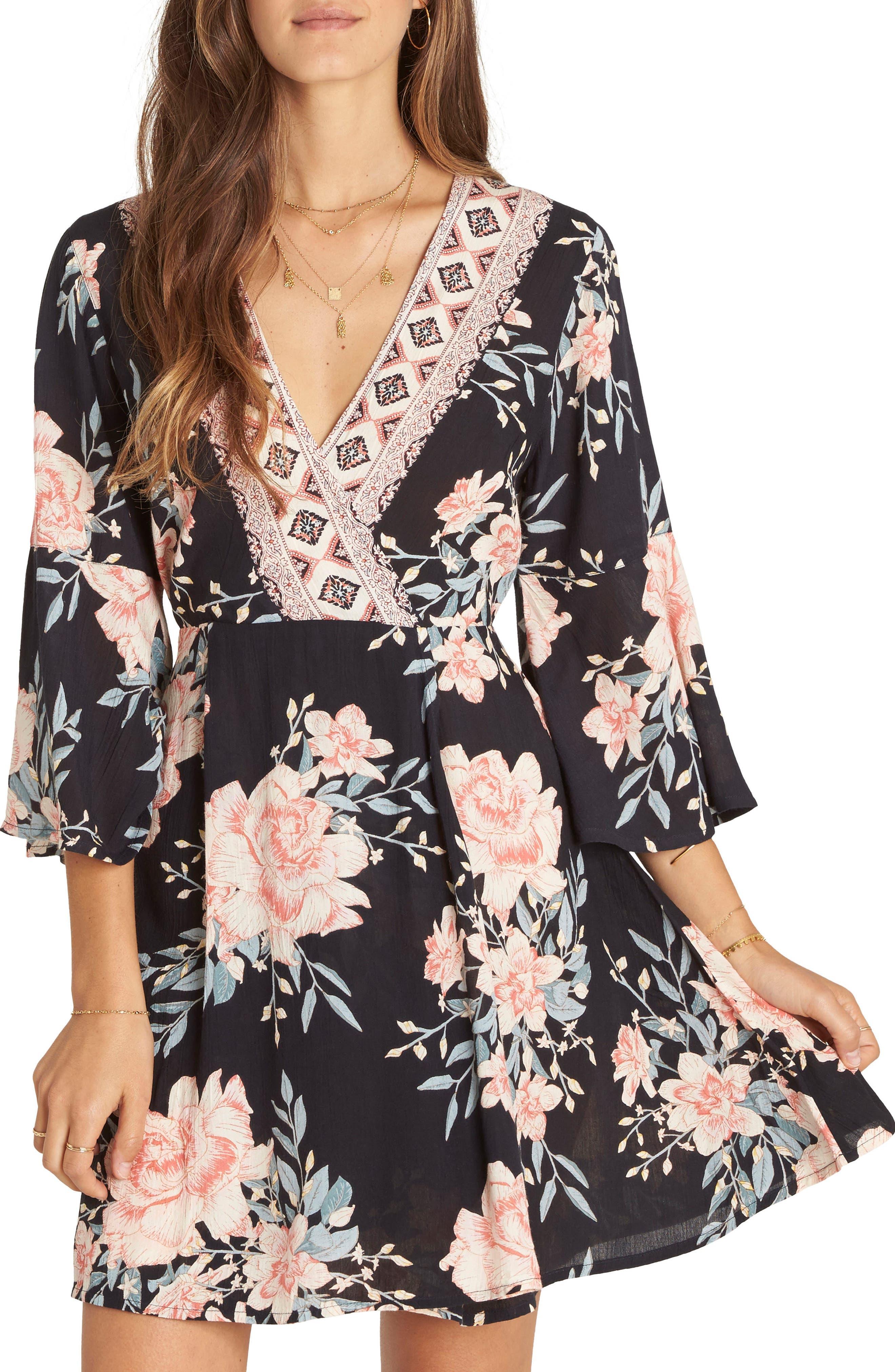 Divine Floral Dress,                             Main thumbnail 1, color,                             Black