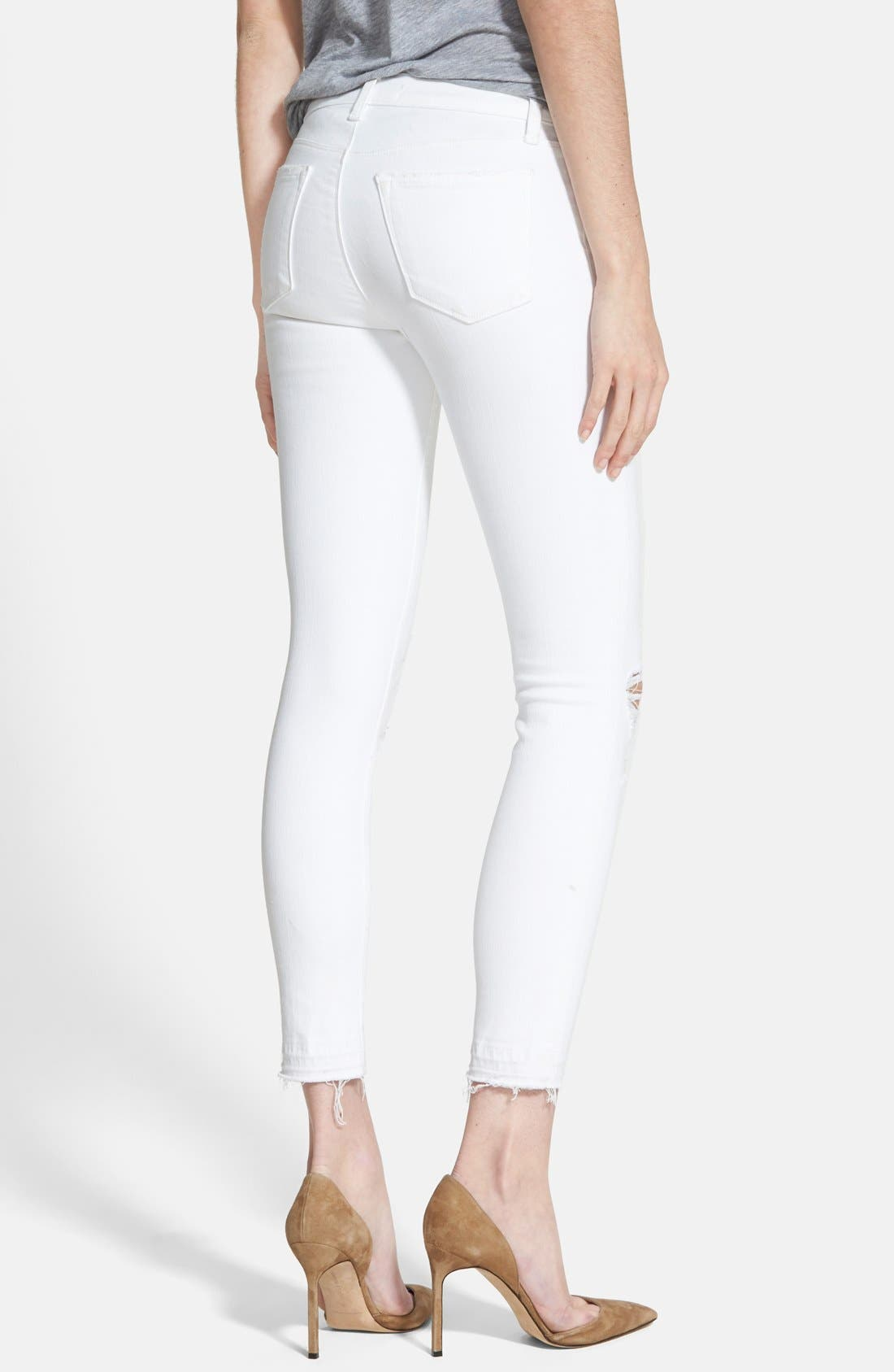 Alternate Image 3  - J Brand 9326 Low Rise Crop Skinny Jeans (Destructed White Sateen Demented)