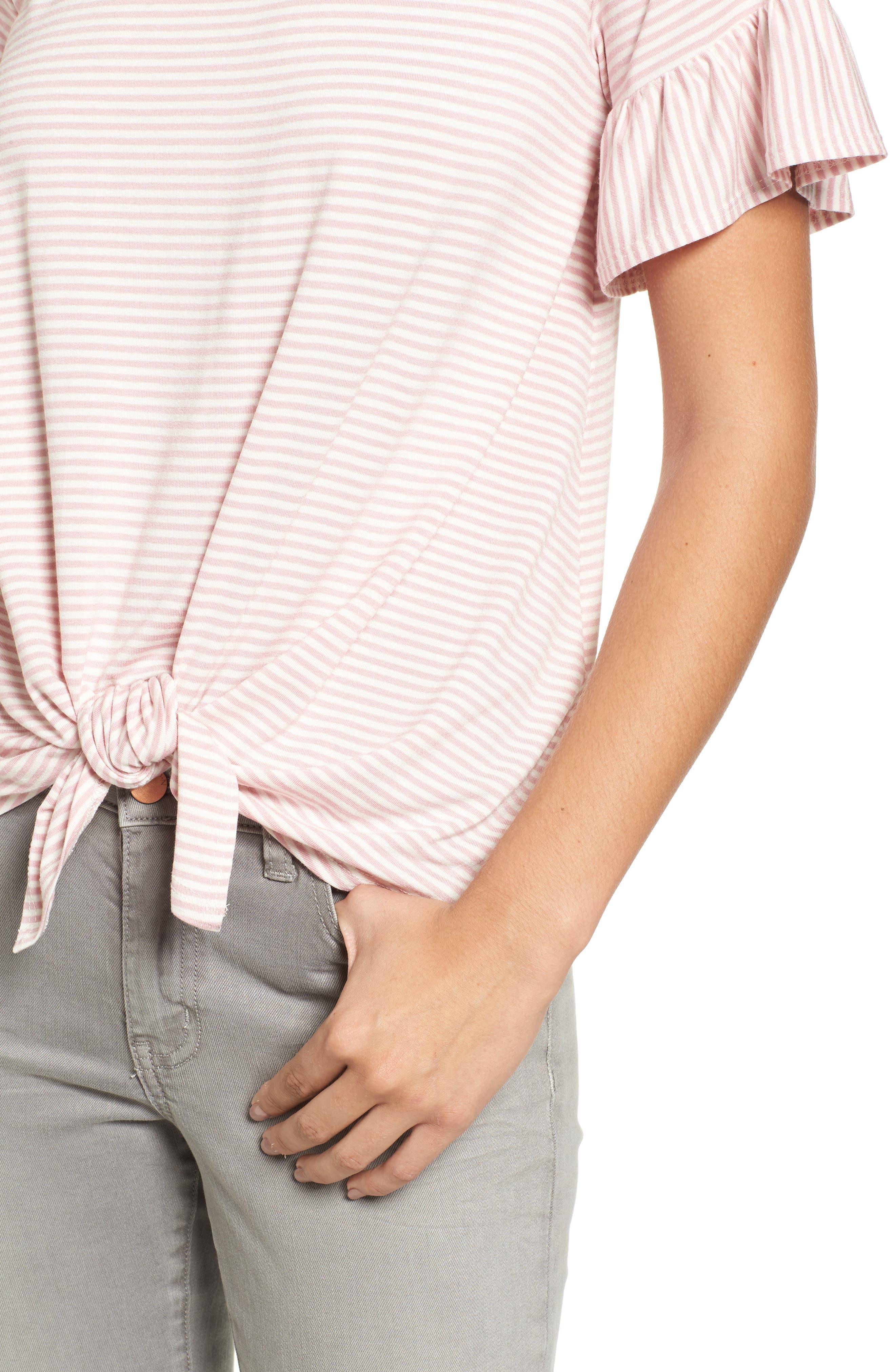 Alternate Image 4  - Bobeau Bell Sleeve Tie Front Top (Regular & Petite)