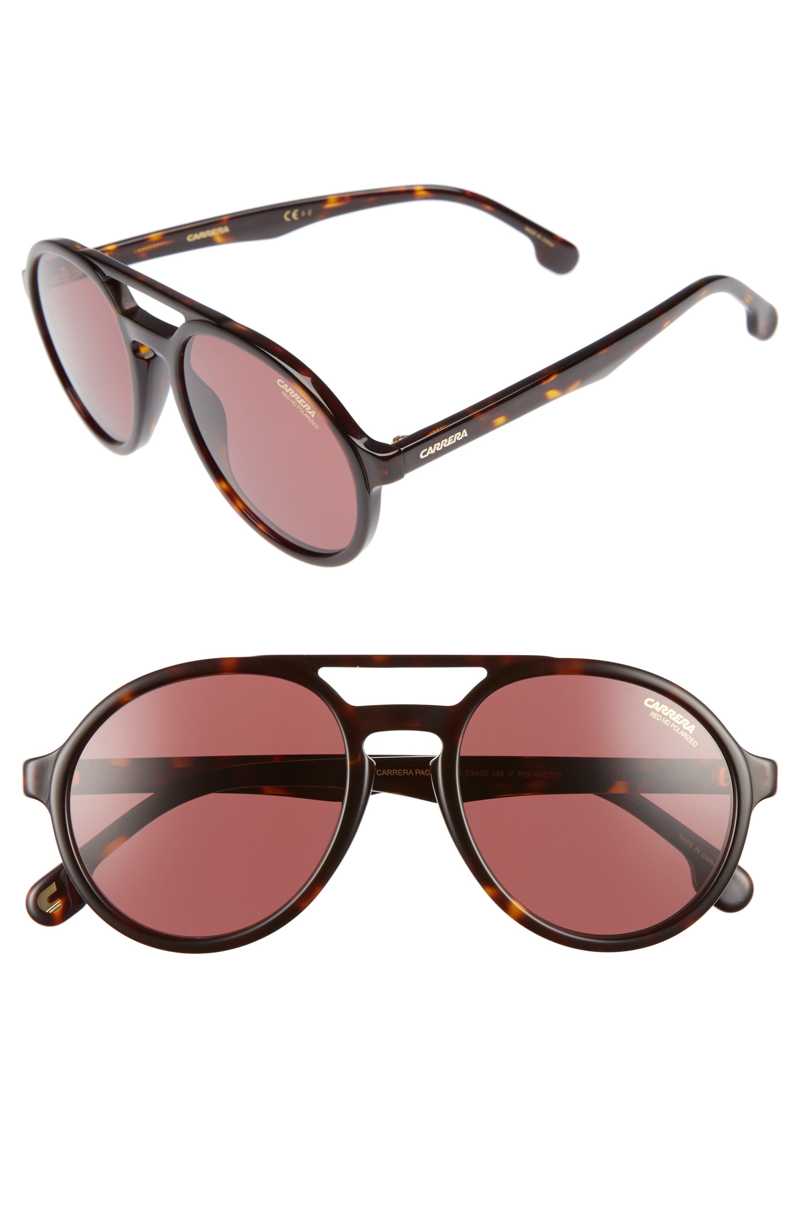 Carrera Pace 53mm Polarized Pilot Sunglasses,                         Main,                         color, Havana