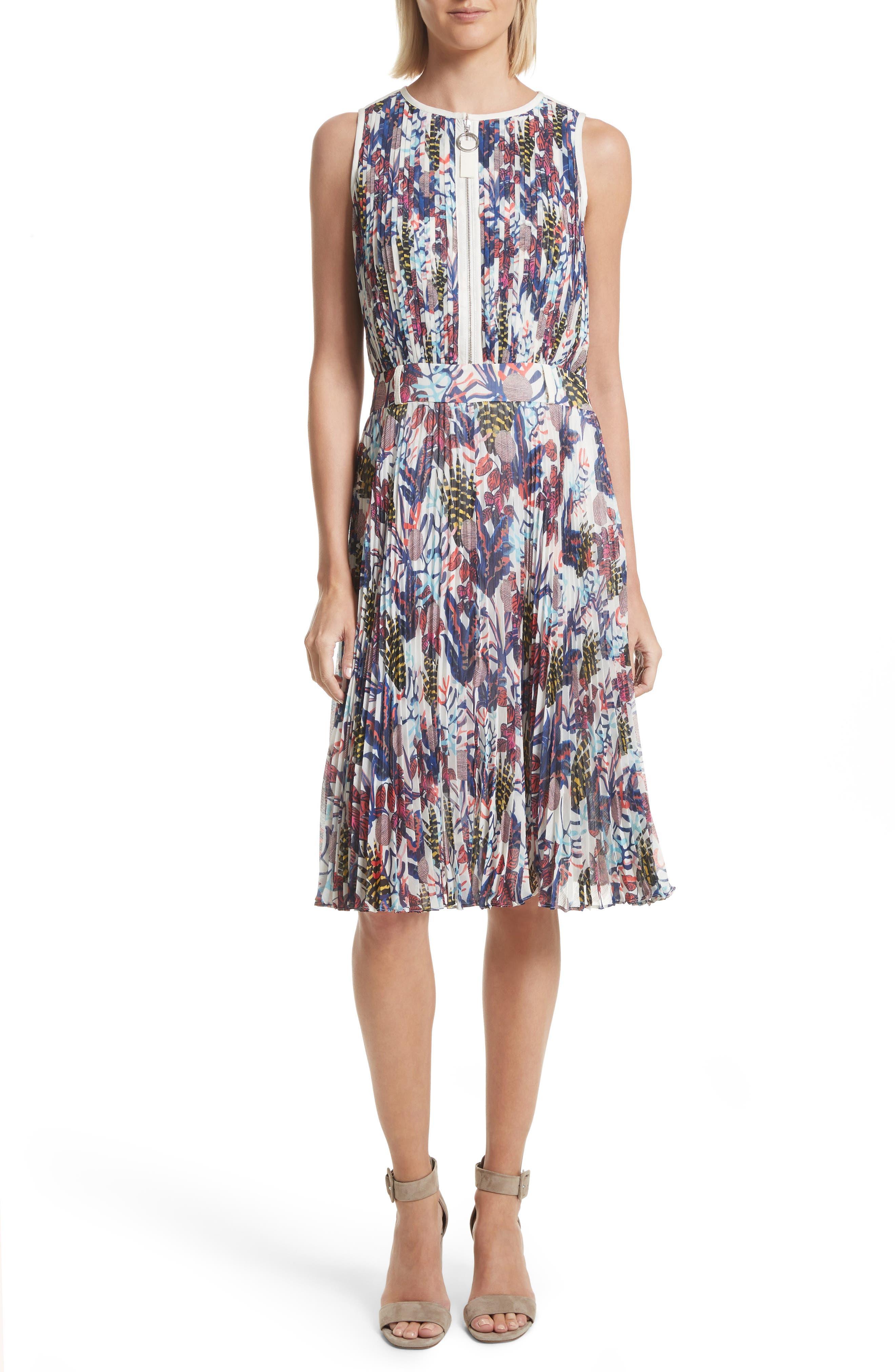 Print Pleated Chiffon Dress,                             Main thumbnail 1, color,                             Cream Multi
