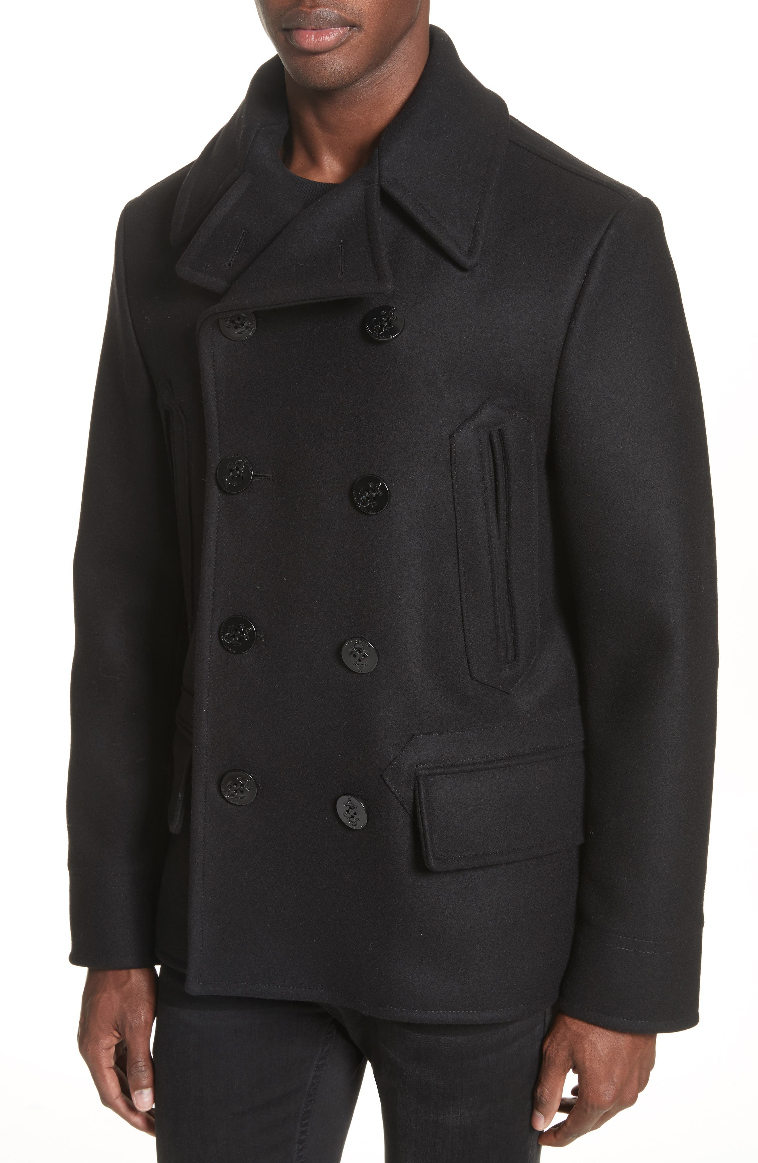 Alternate Image 4  - Givenchy Knit Collar Peacoat