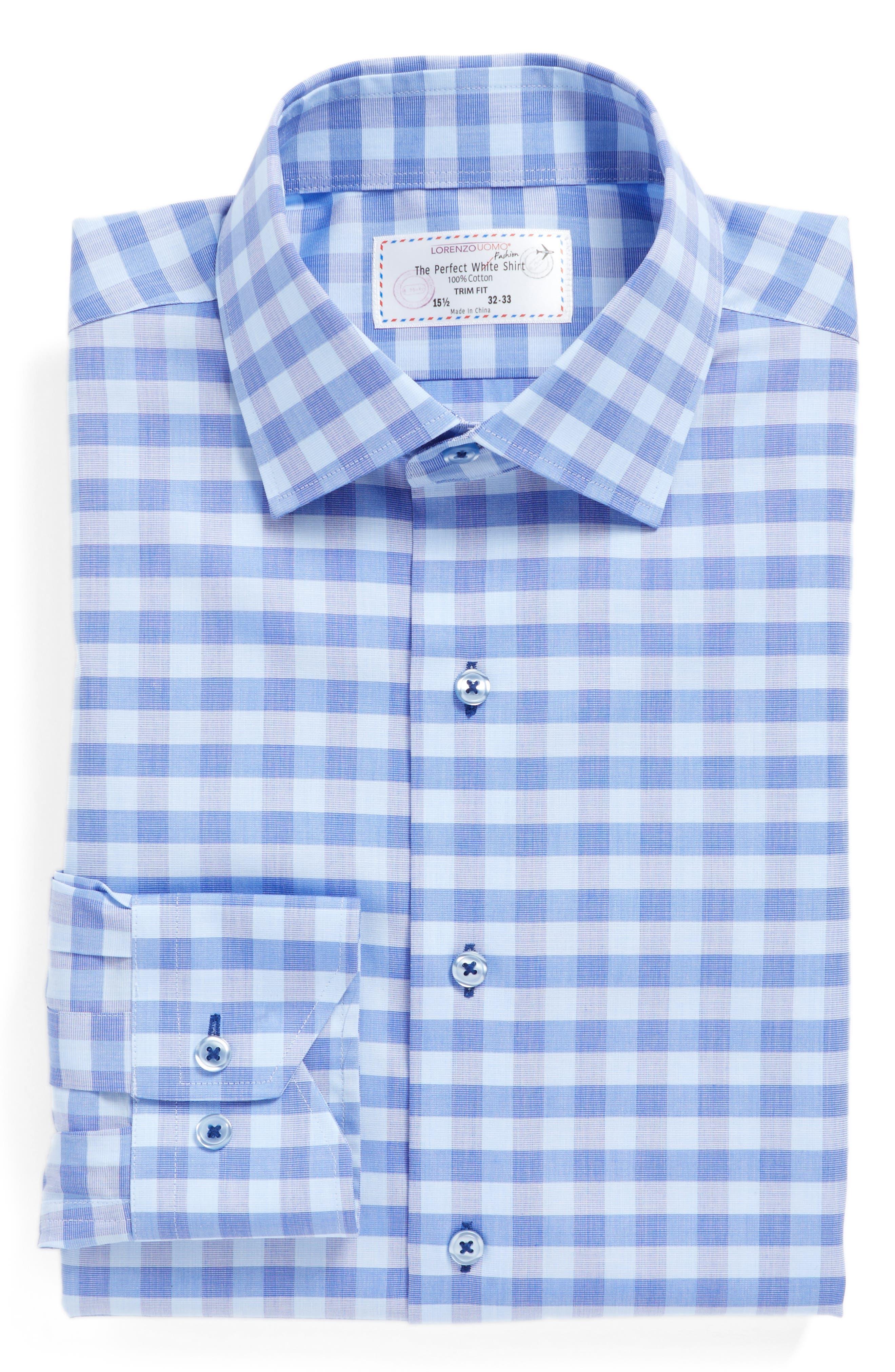 Trim Fit Check Dress Shirt,                             Alternate thumbnail 4, color,                             Blue/ Purple