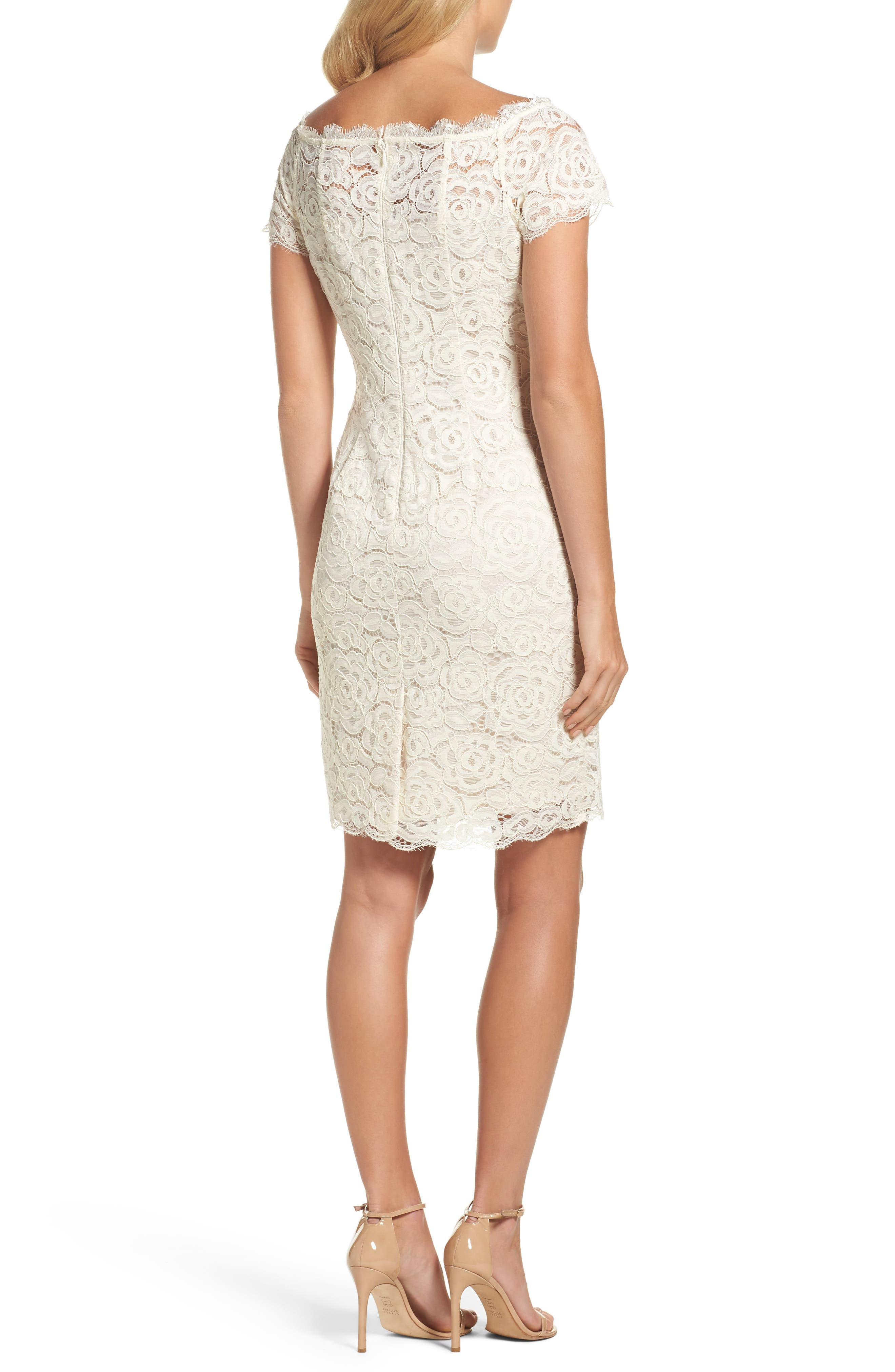 Alternate Image 2  - Adrianna PapellOff the Shoulder Lace Sheath Dress (Regular & Petite)