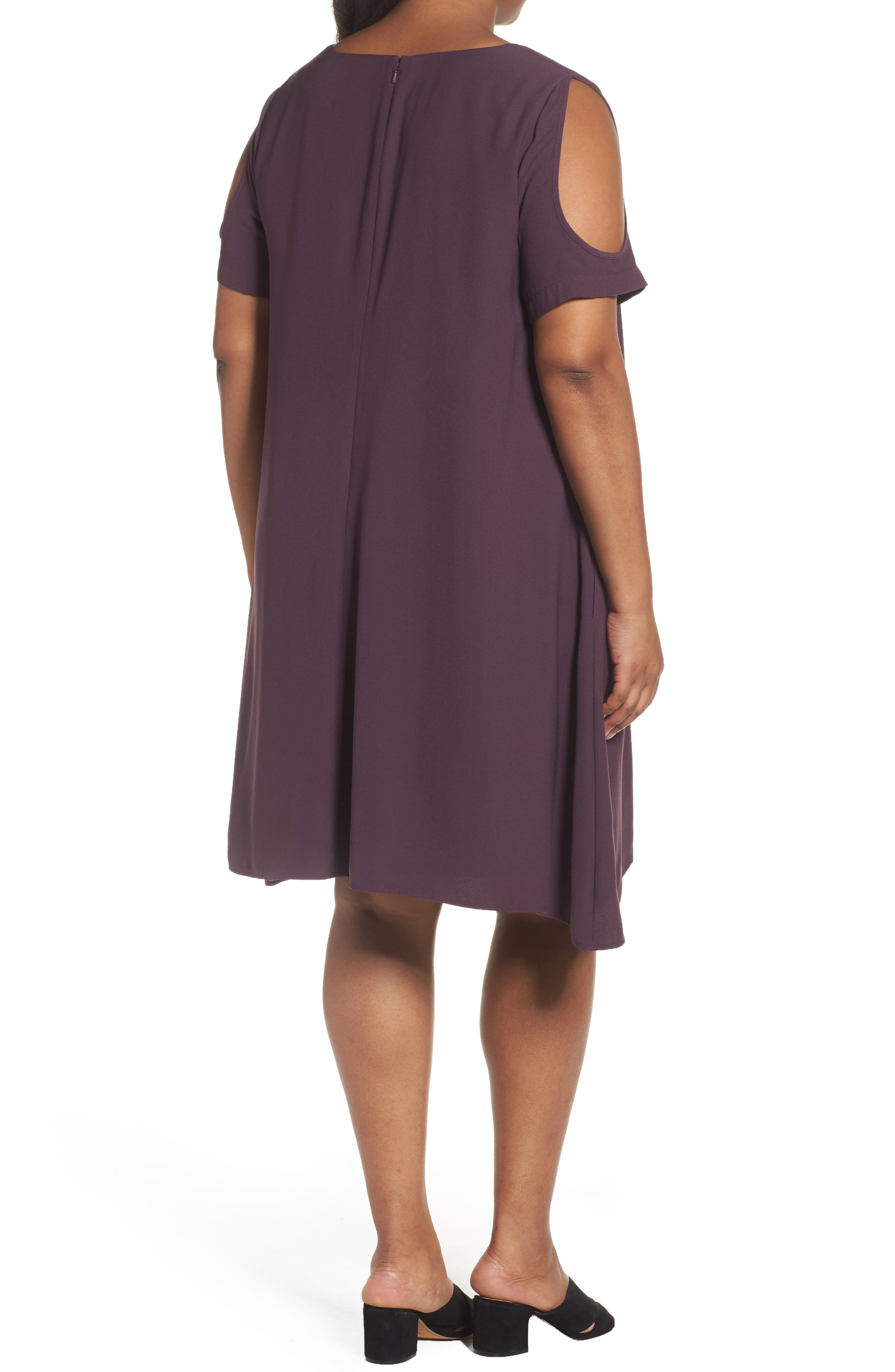 Cold Shoulder Swing Dress,                             Alternate thumbnail 2, color,                             Purple Plum