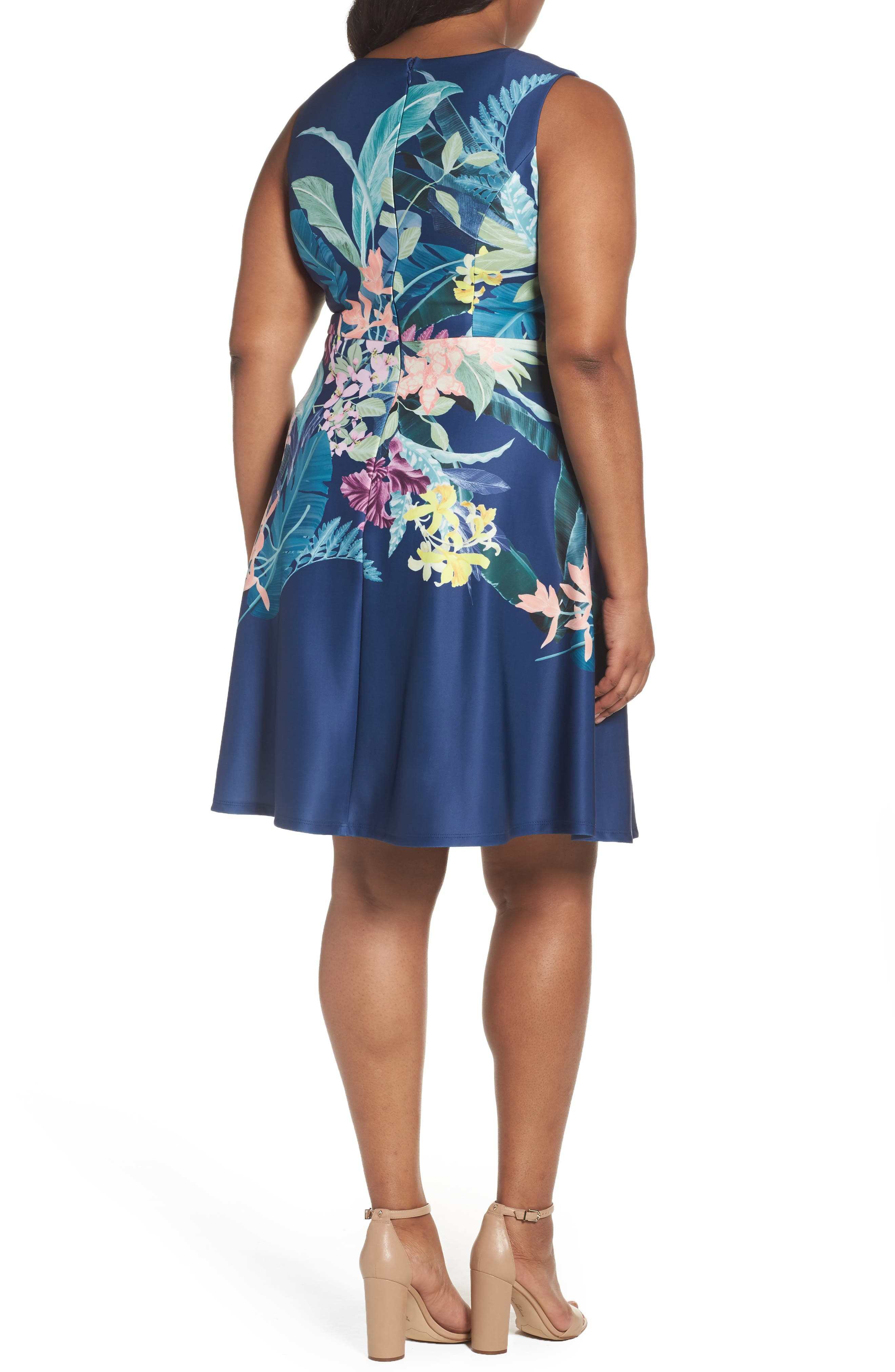 Alternate Image 2  - Adrianna Papell Scuba Fit & Flare Dress (Plus Size)