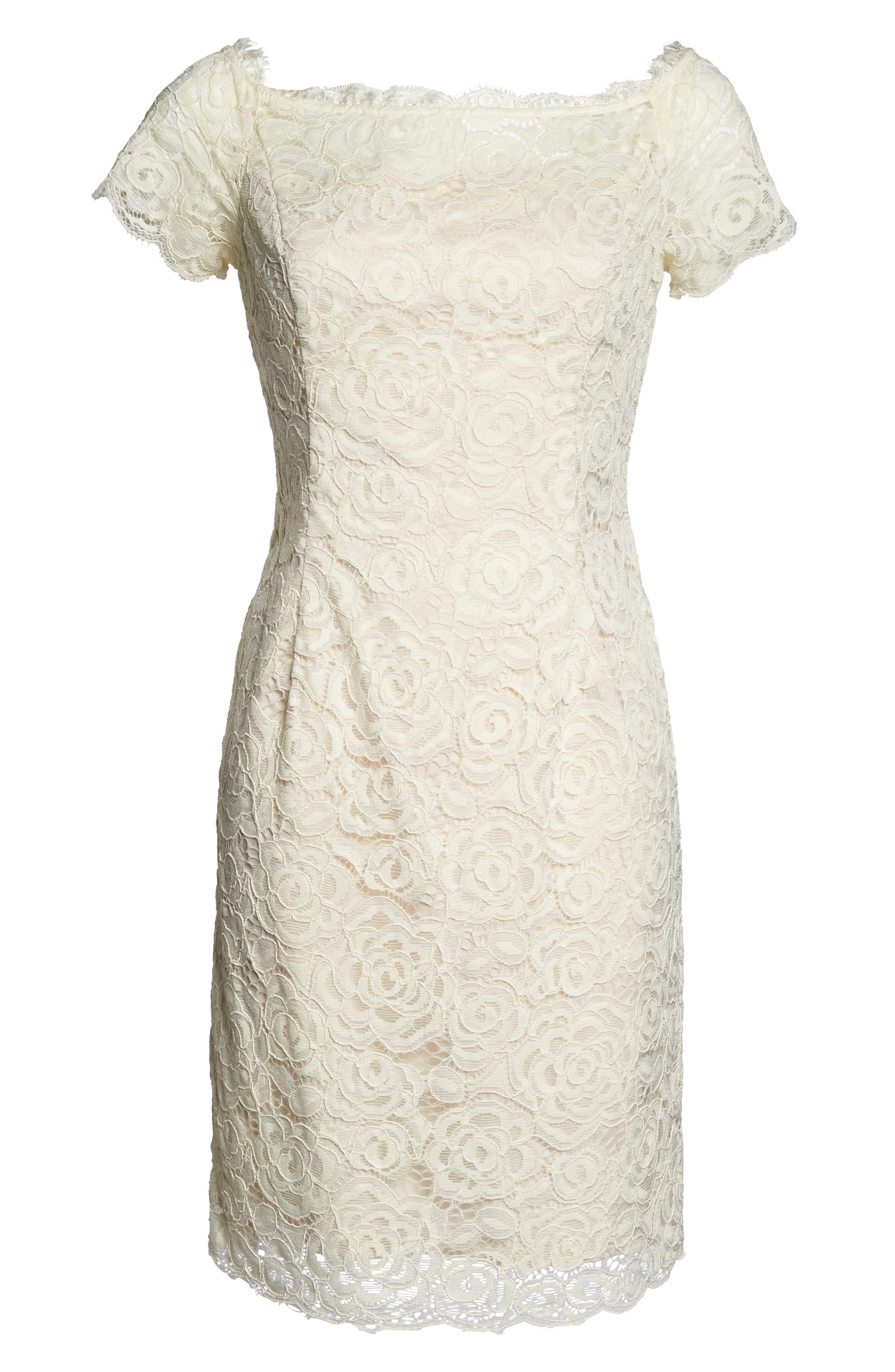 Alternate Image 6  - Adrianna PapellOff the Shoulder Lace Sheath Dress (Regular & Petite)