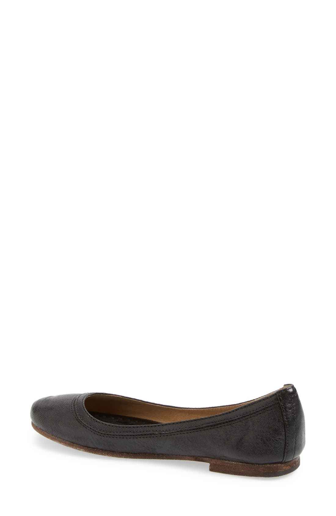 'Carson' Ballet Flat,                             Alternate thumbnail 2, color,                             Black/ Black Leather