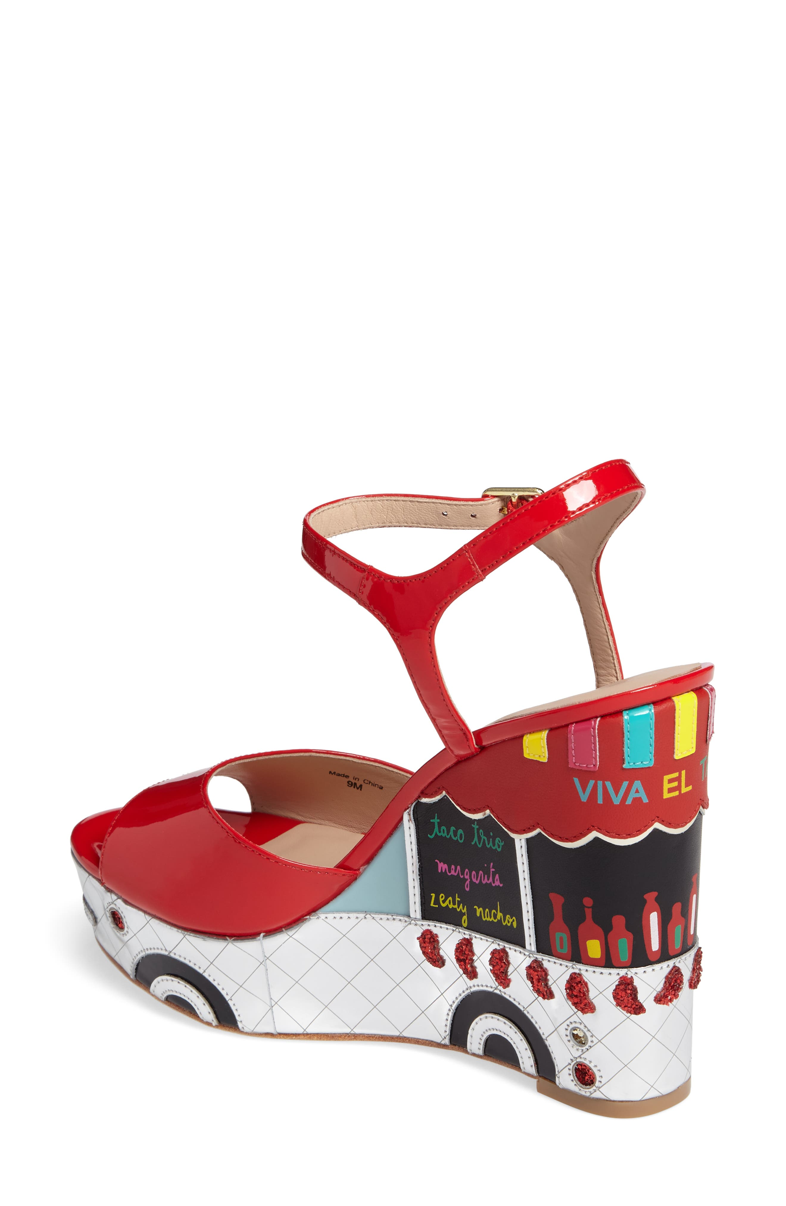 dora wedge sandal,                             Alternate thumbnail 2, color,                             Maraschino Red Patent