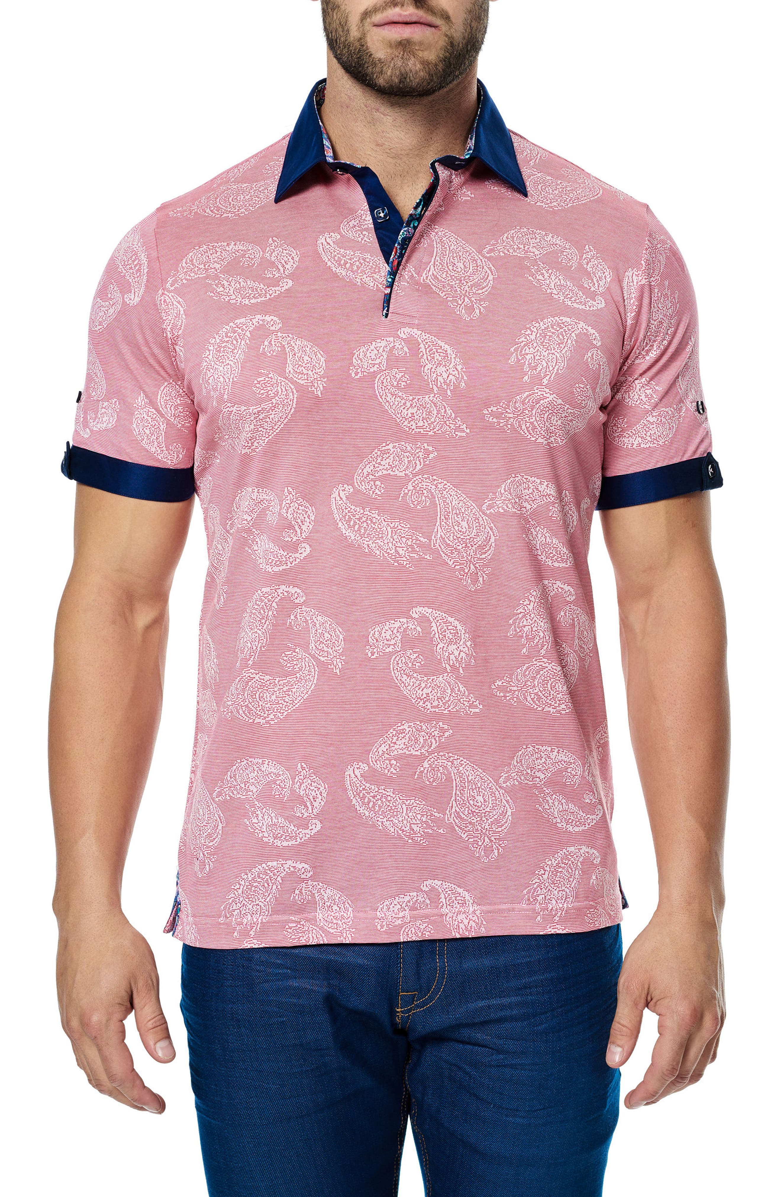 Woven Trim Polo,                         Main,                         color, Pink