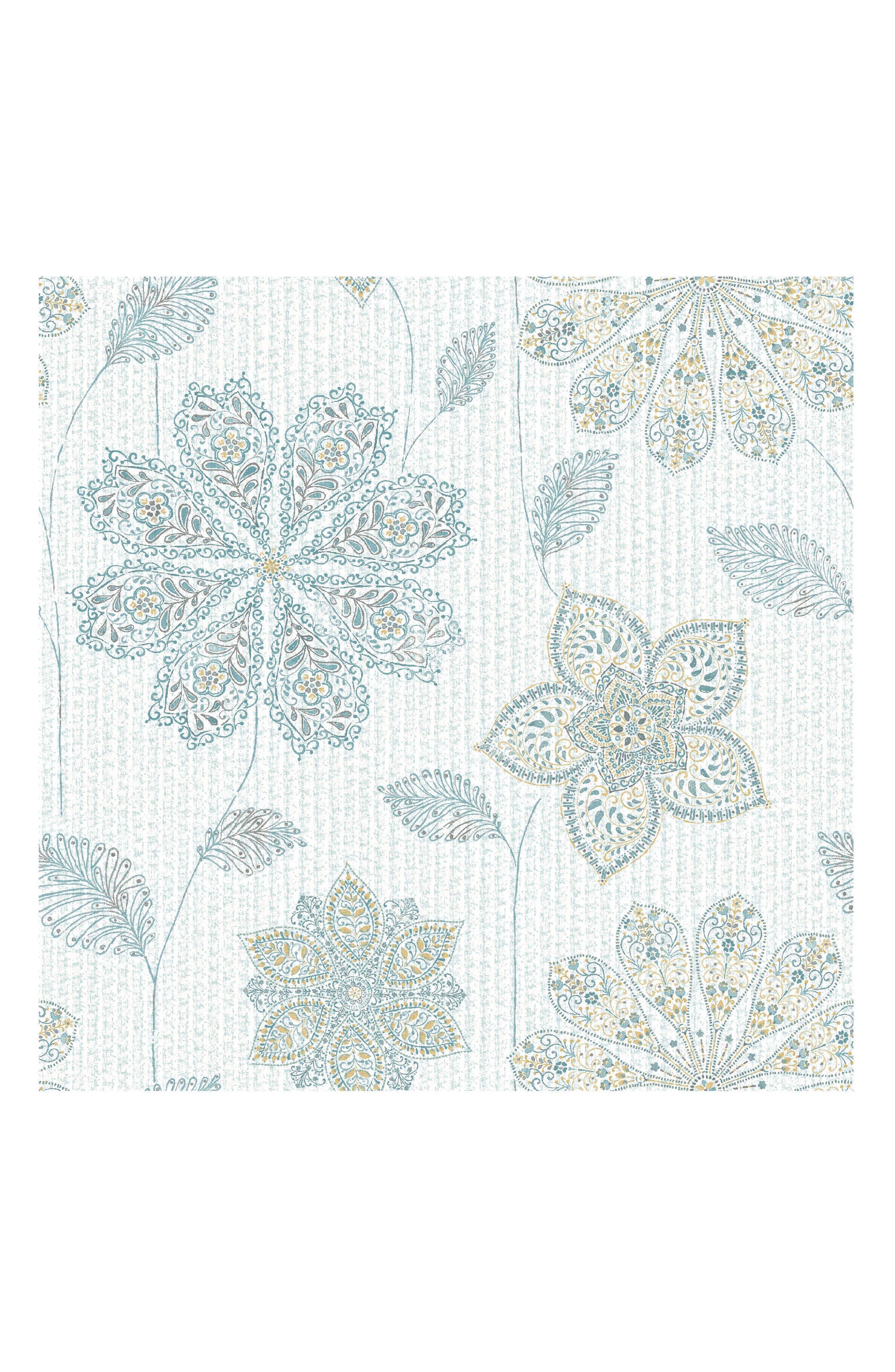 Floral Peel & Stick Vinyl Wallpaper,                         Main,                         color, Blue