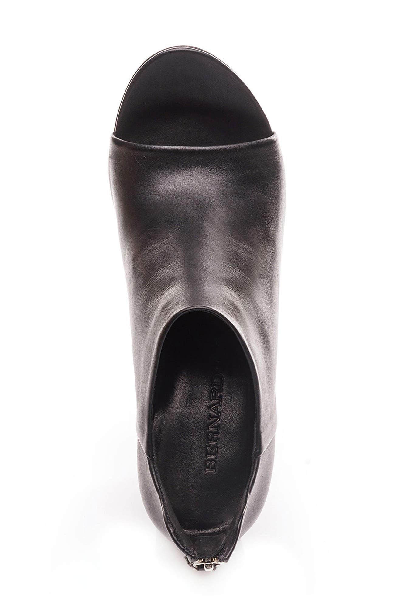Heather Peep Toe Bootie,                             Alternate thumbnail 5, color,                             Black Leather