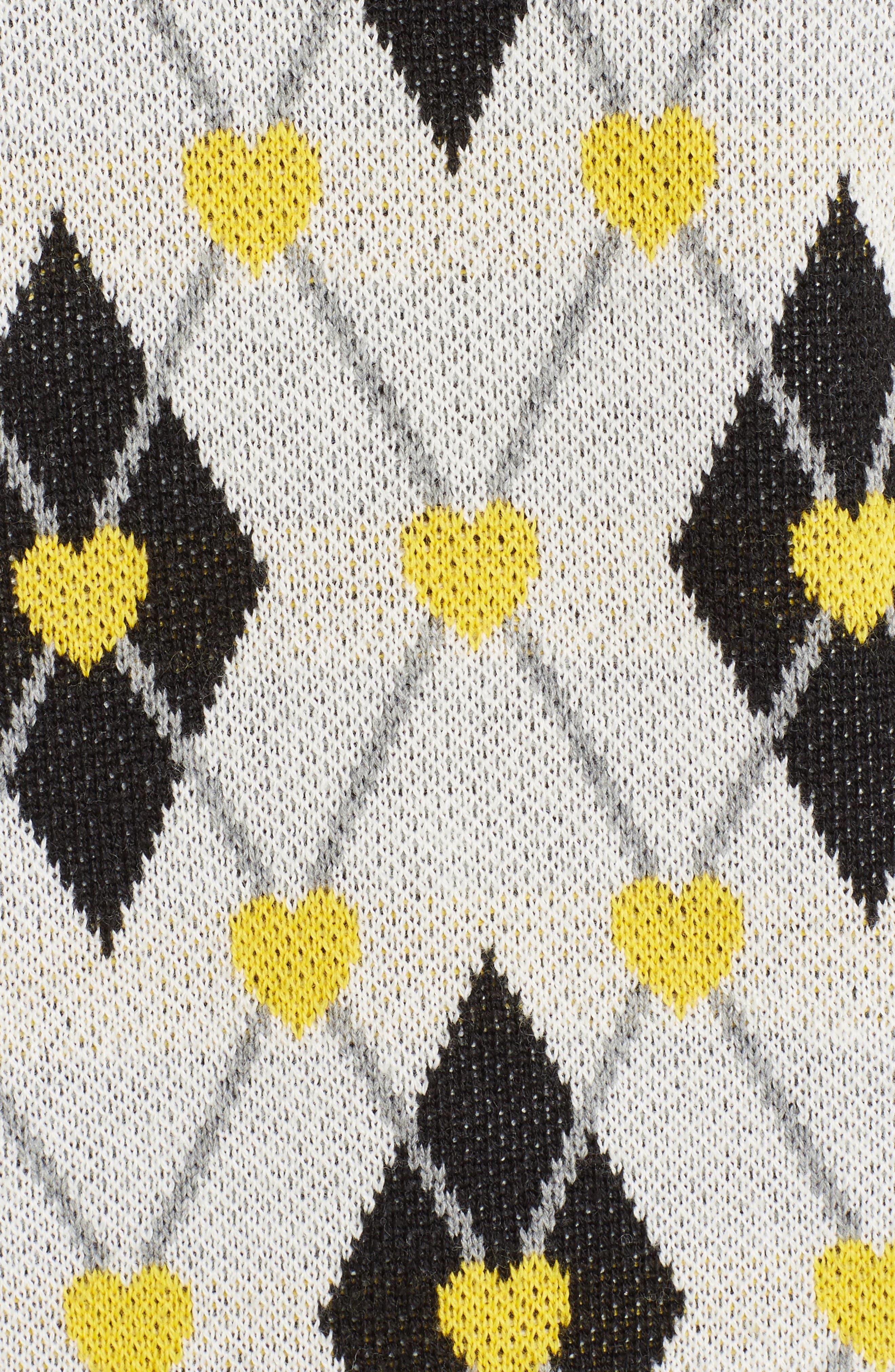 Argyle Heart Turtleneck Sweater,                             Alternate thumbnail 6, color,                             White