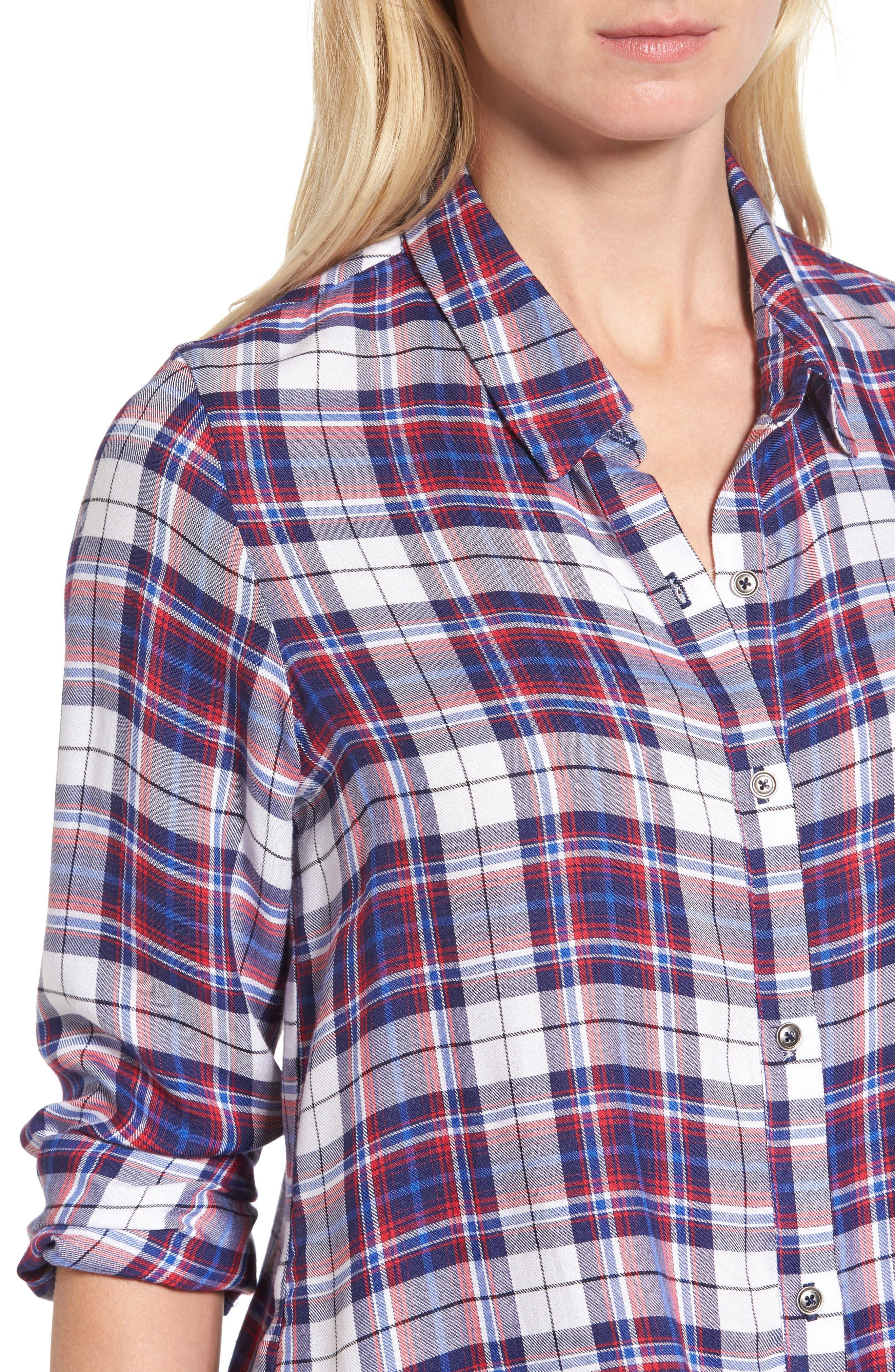 Tie Front Plaid Shirt,                             Alternate thumbnail 4, color,                             Burgundy/ Black Plaid