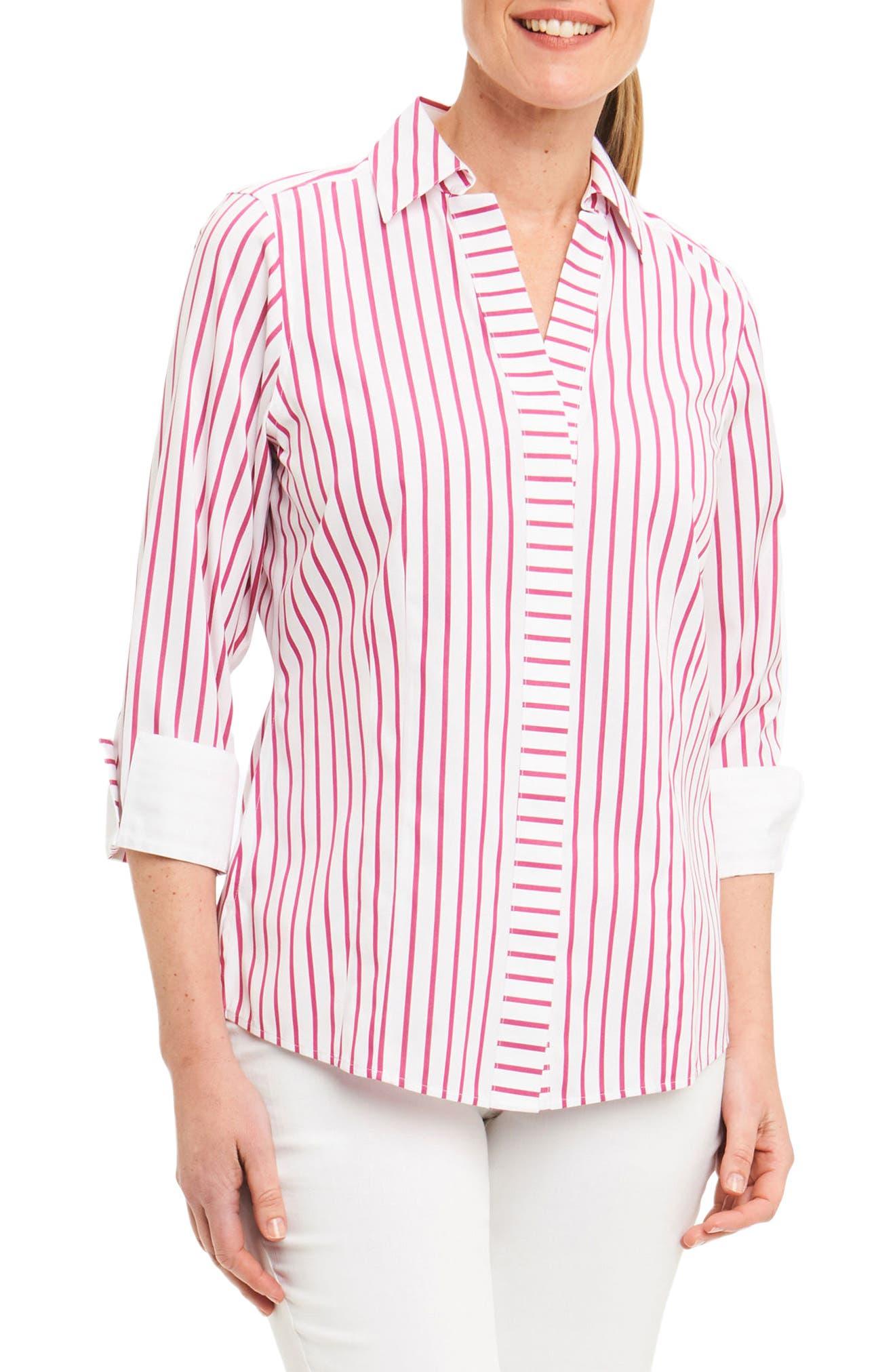 Taylor Non-Iron Stripe Cotton Shirt,                             Main thumbnail 1, color,                             Summer Berry