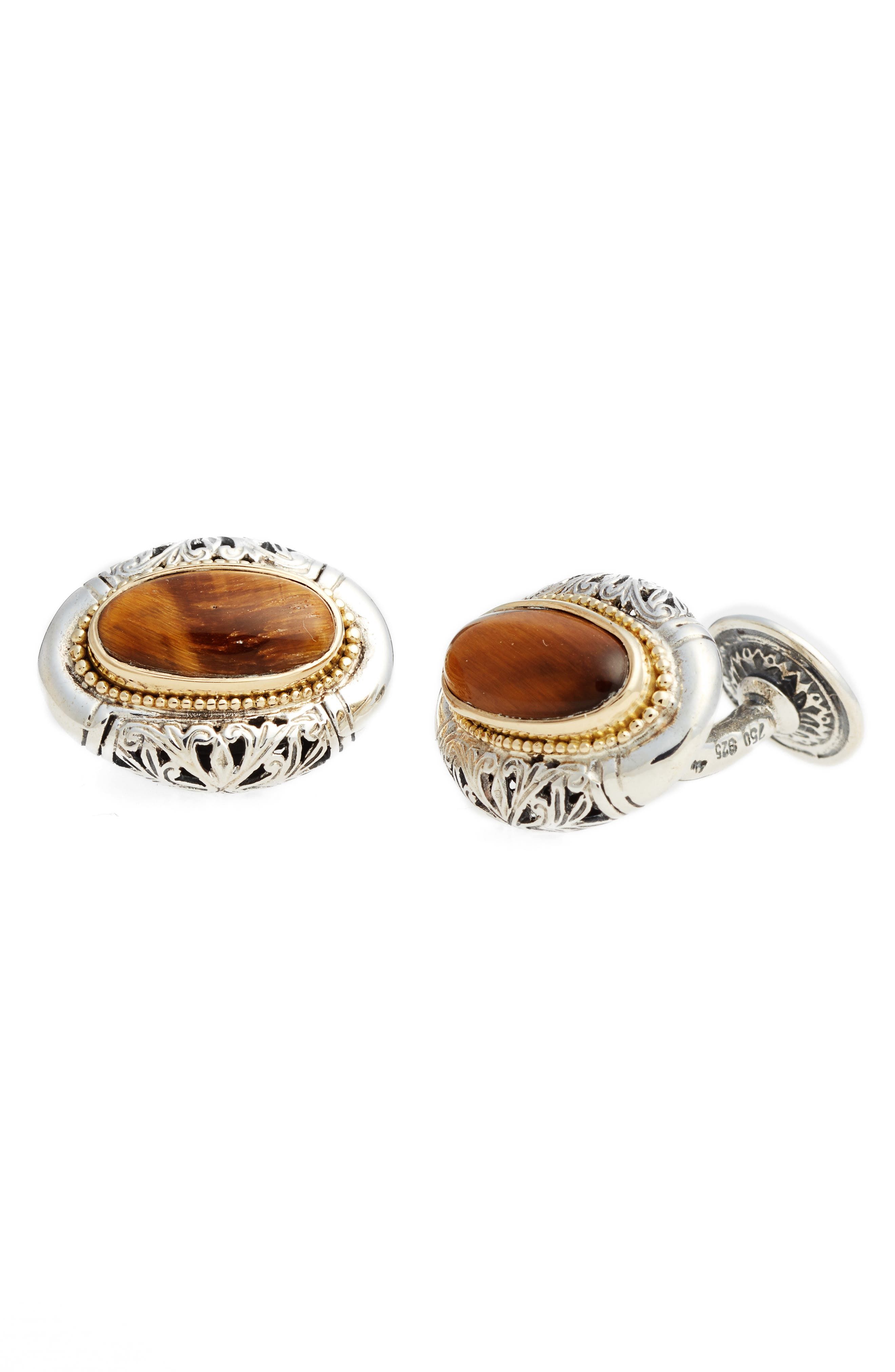 Color Classics Oval Cuff Links,                             Main thumbnail 1, color,                             Silver/ Gold/ Tigers Eye
