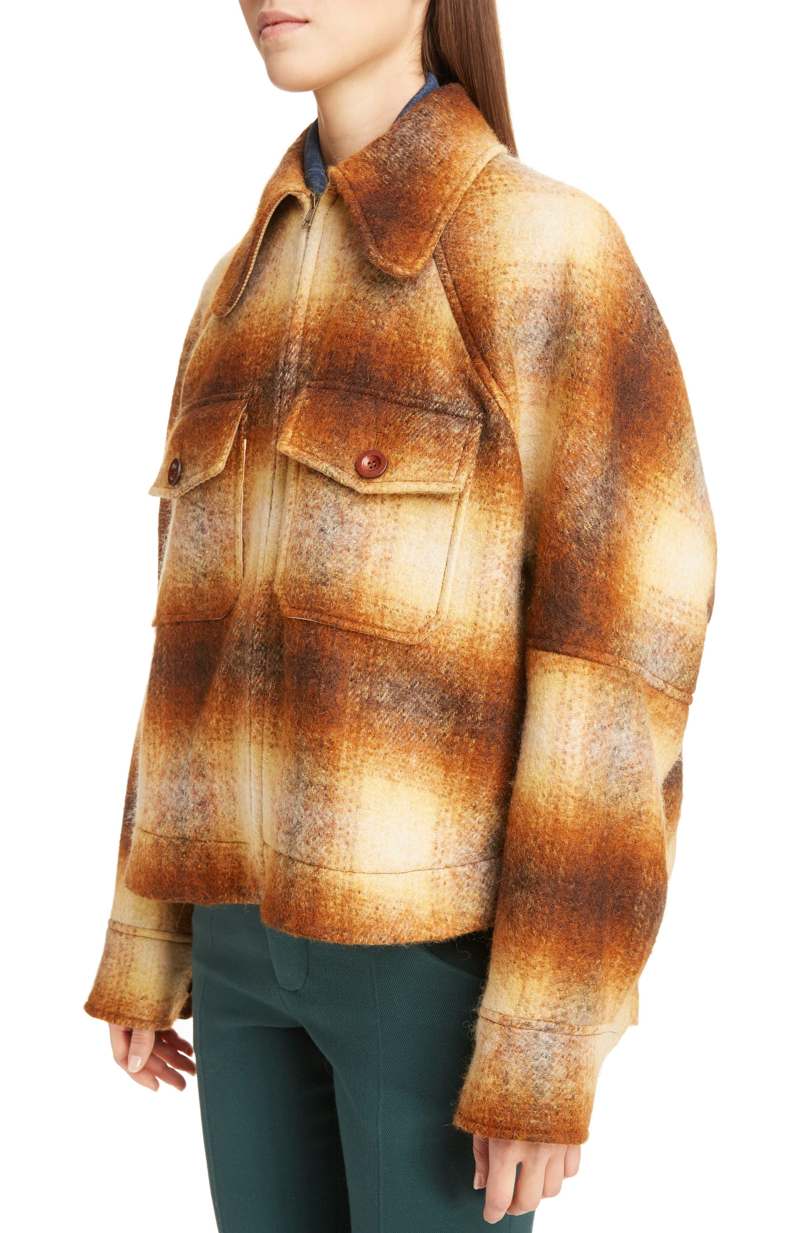 Mohair Blend Check Lumber Jacket,                             Alternate thumbnail 4, color,                             Multicolor Brown