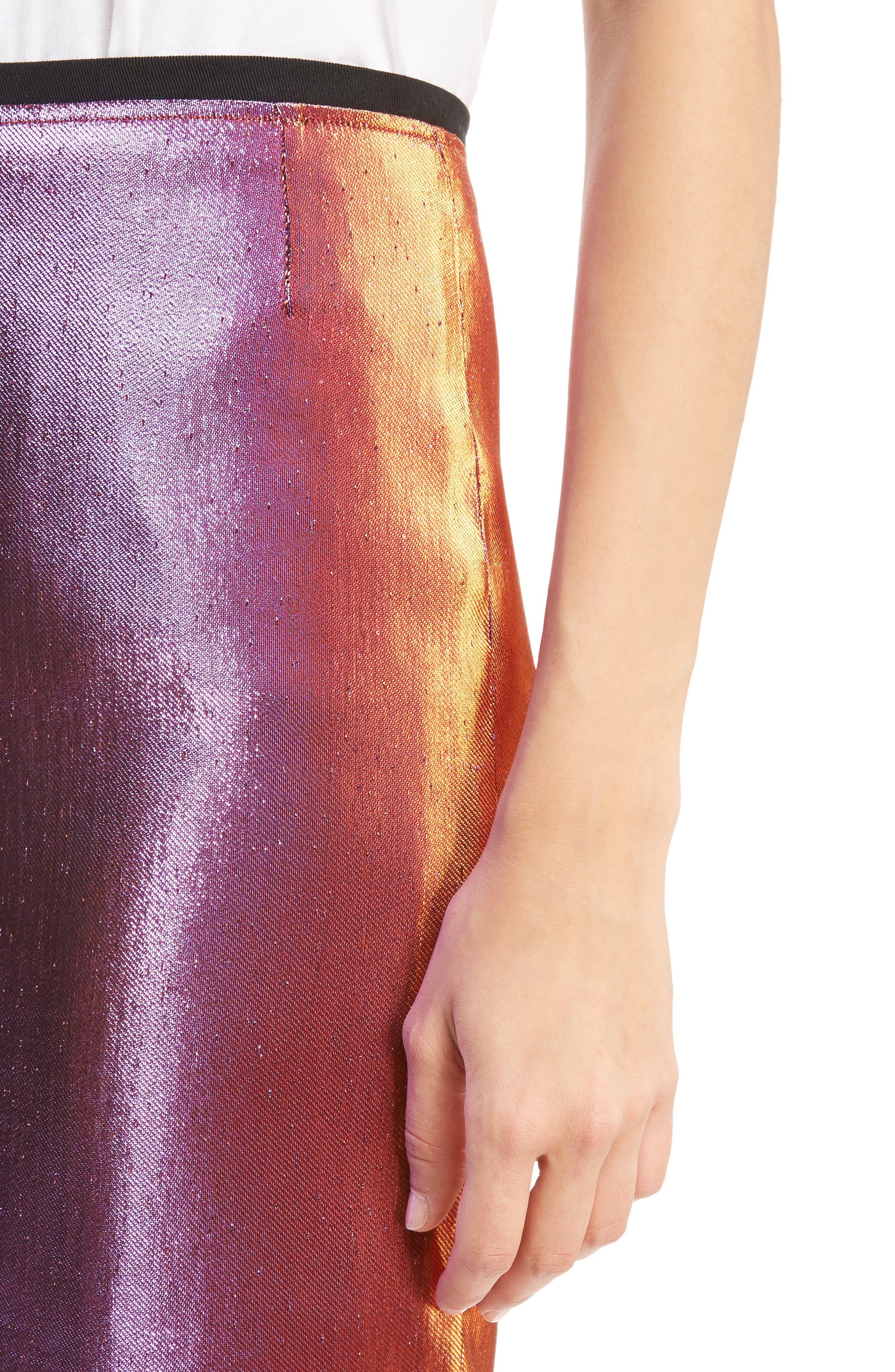 Two-Tone Lamé Pencil Skirt,                             Alternate thumbnail 5, color,                             Pink