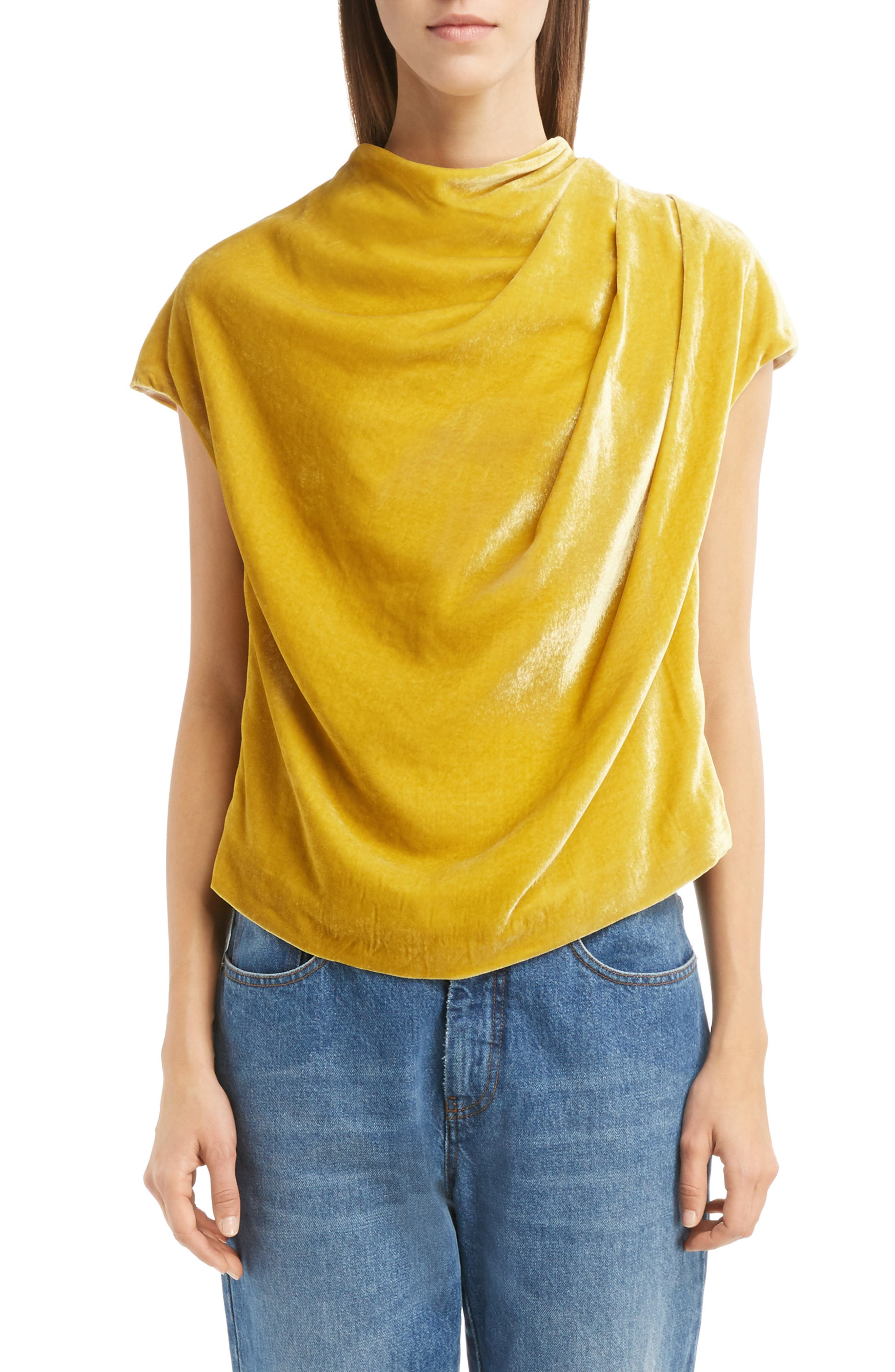 Dries Van Noten Drape Velvet Top