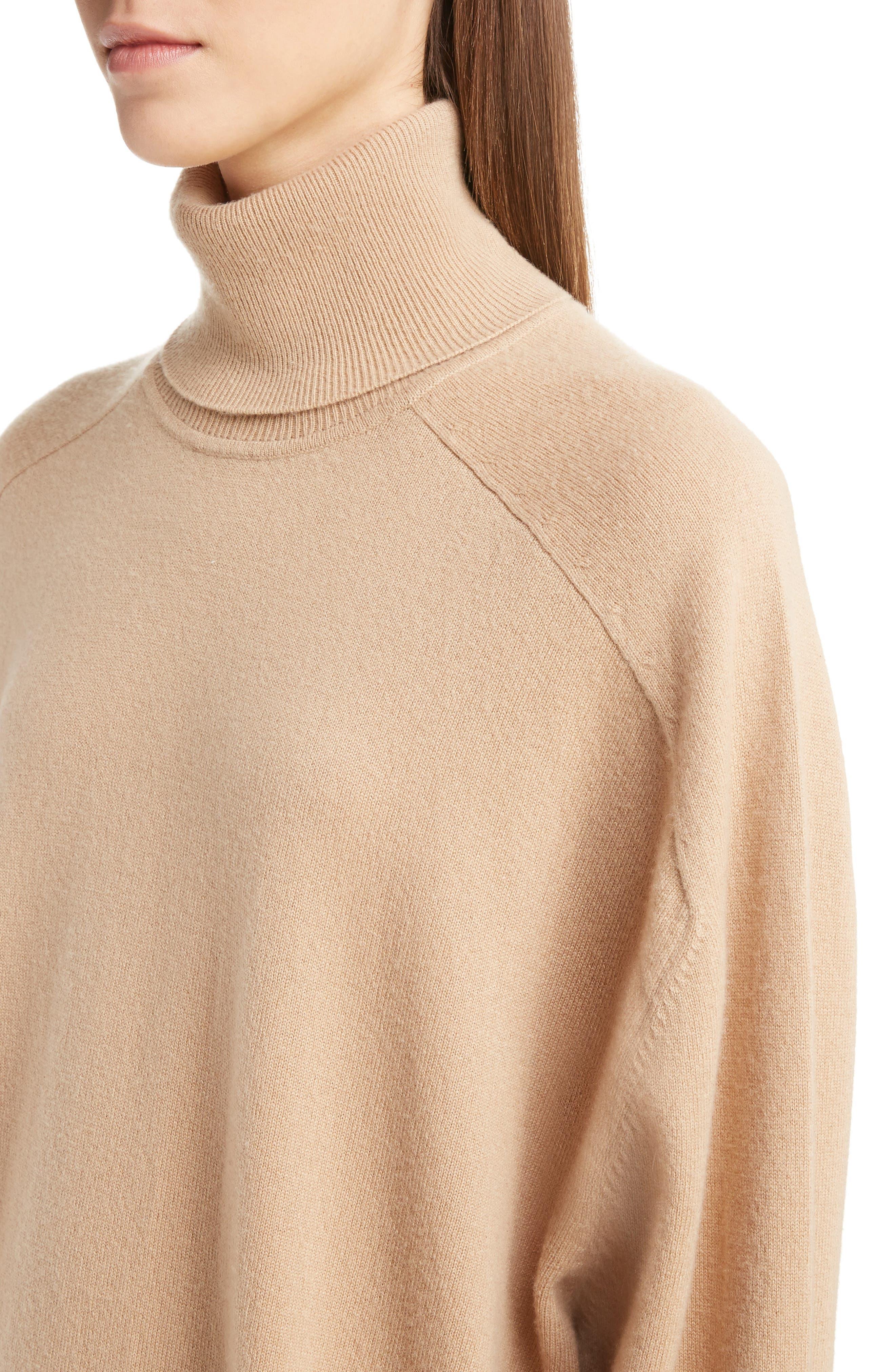 Oversized Cashmere Turtleneck Sweater,                             Alternate thumbnail 5, color,                             Camel