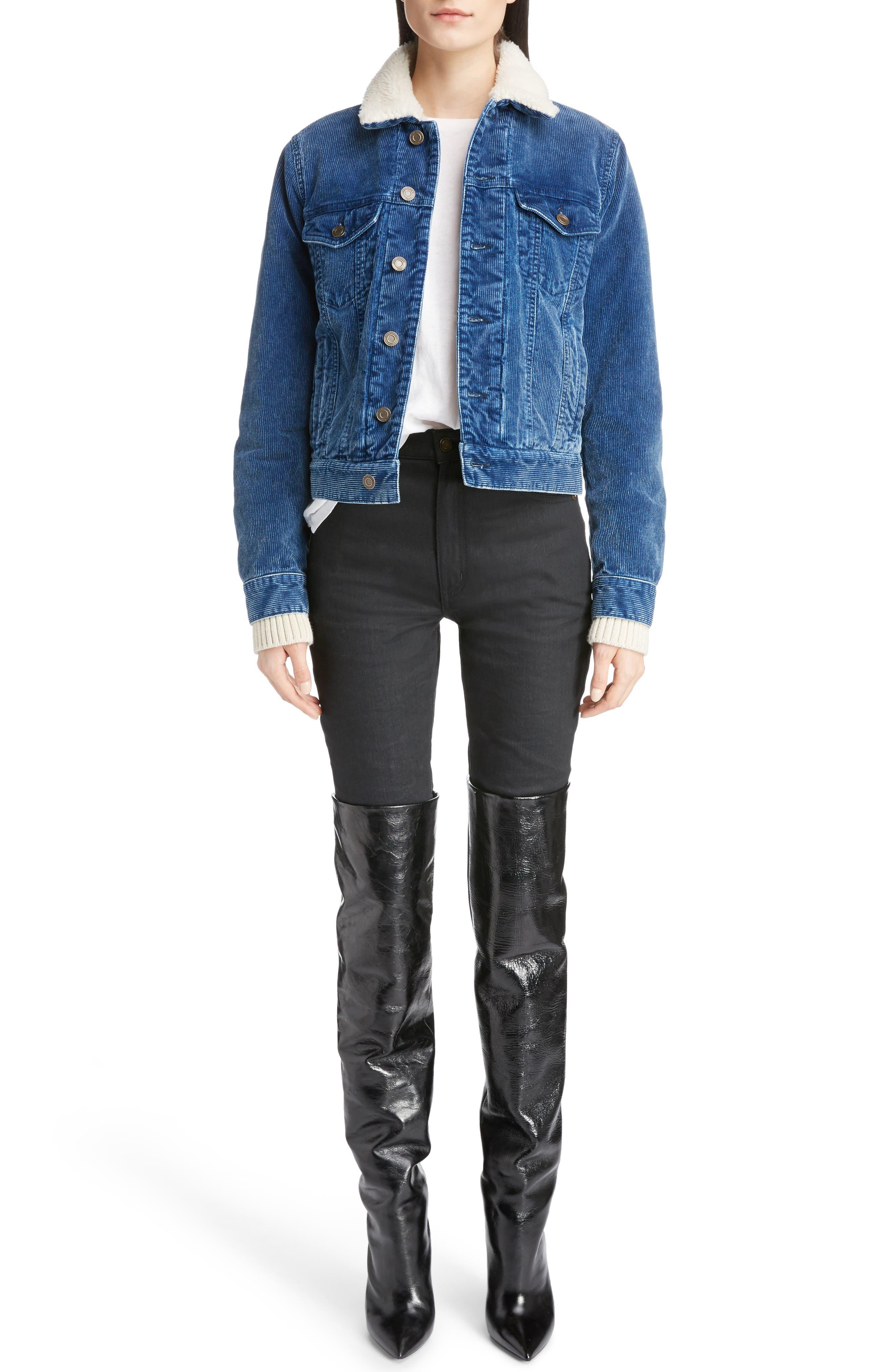 Saint Laurent Genuine Shearling Lined Corduroy Jacket