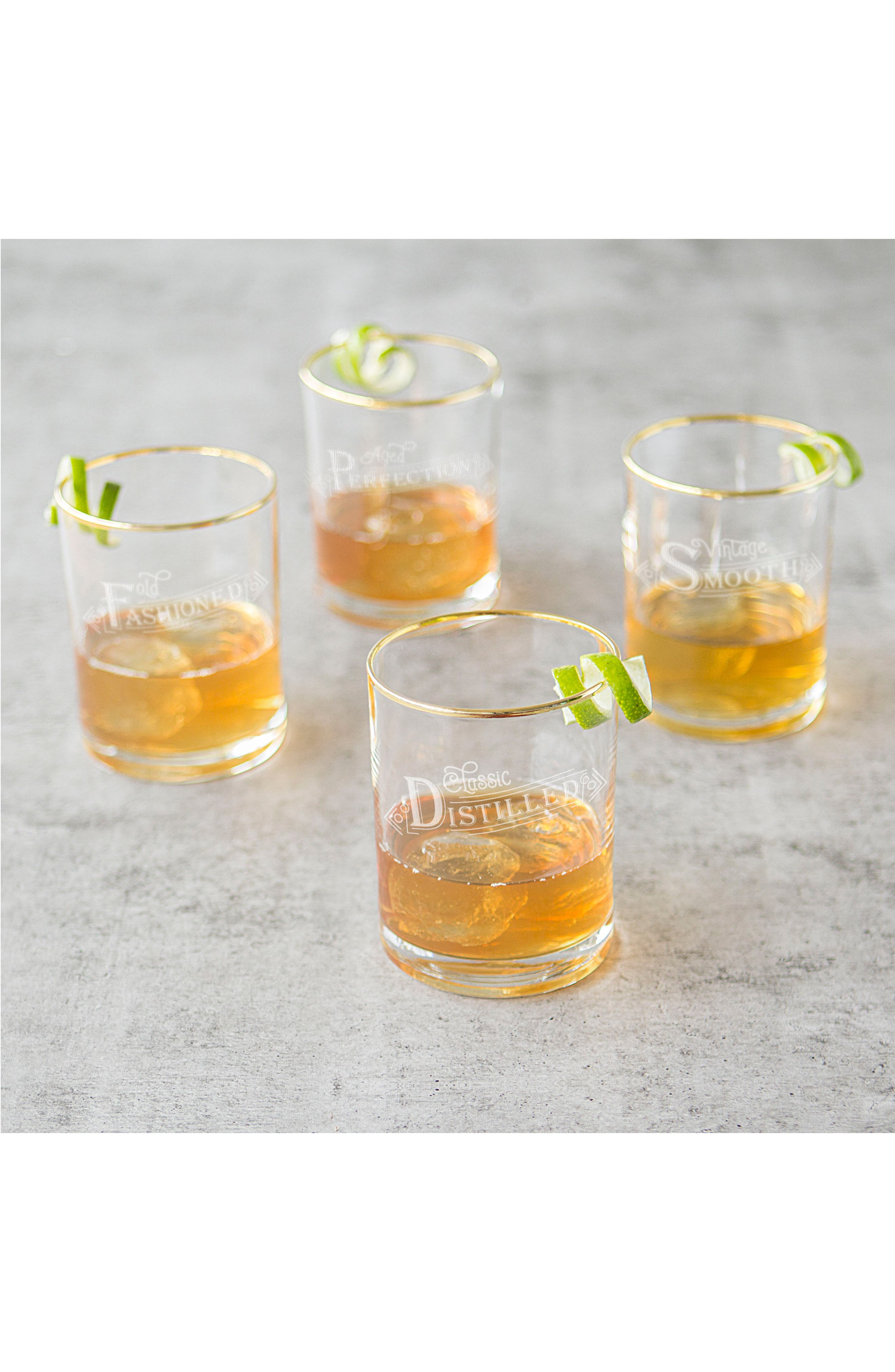 Set of 4 Gold Rim Old Fashioned Whiskey Glasses,                             Alternate thumbnail 2, color,