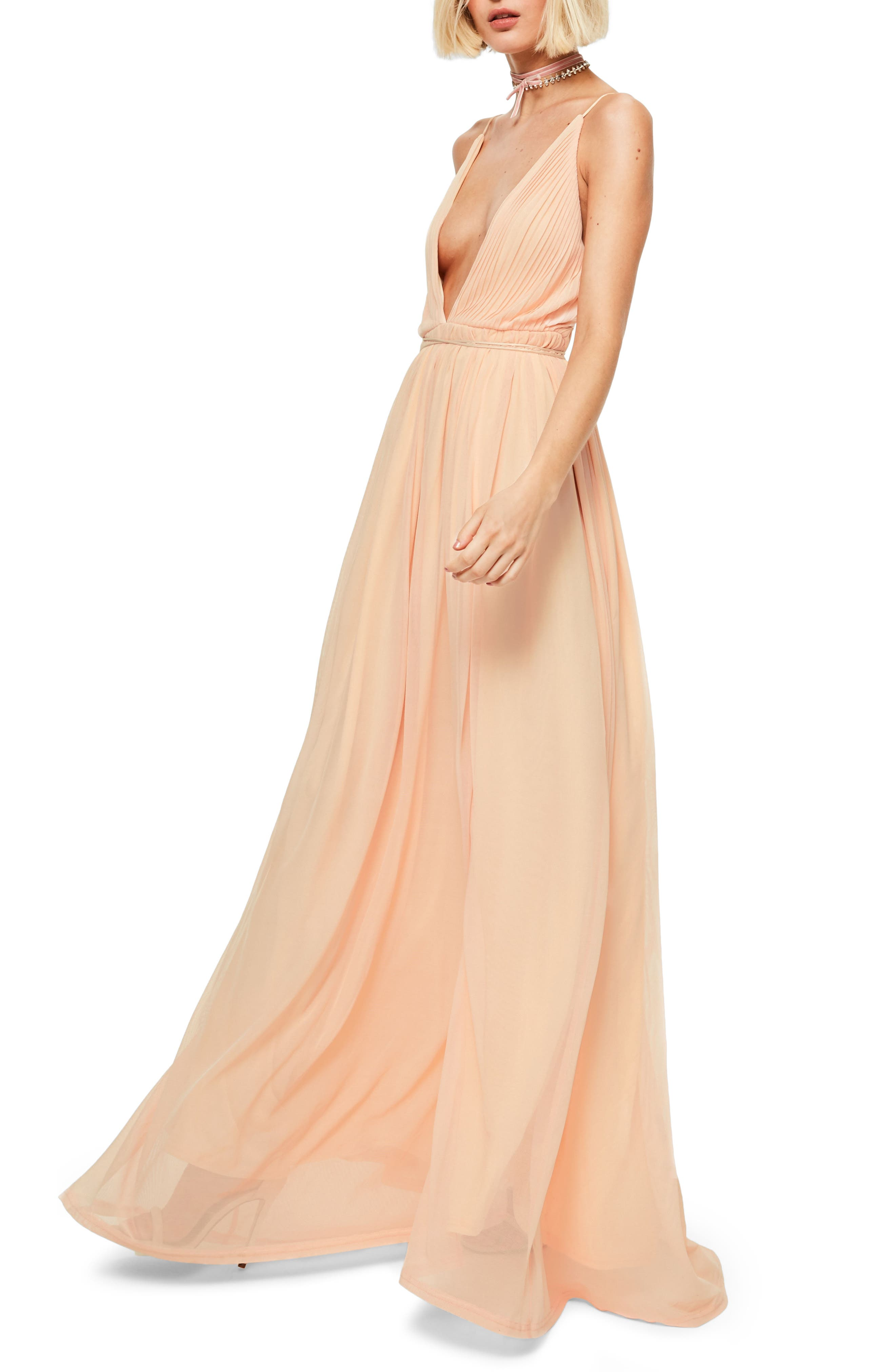 Plunging Neck Maxi Dress,                             Alternate thumbnail 3, color,                             Nude