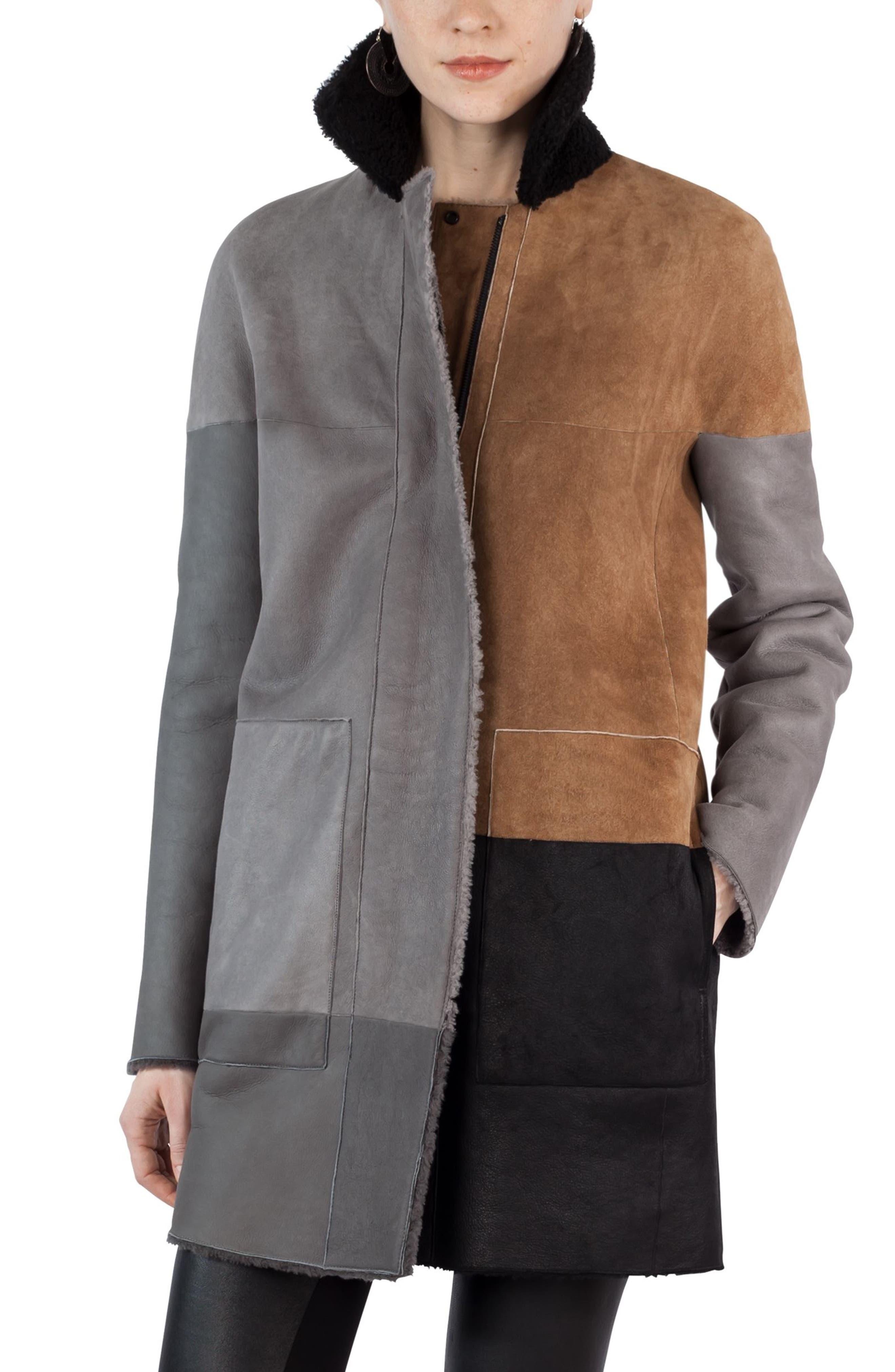 Akris punto Colorblock Reversible Genuine Shearling Coat