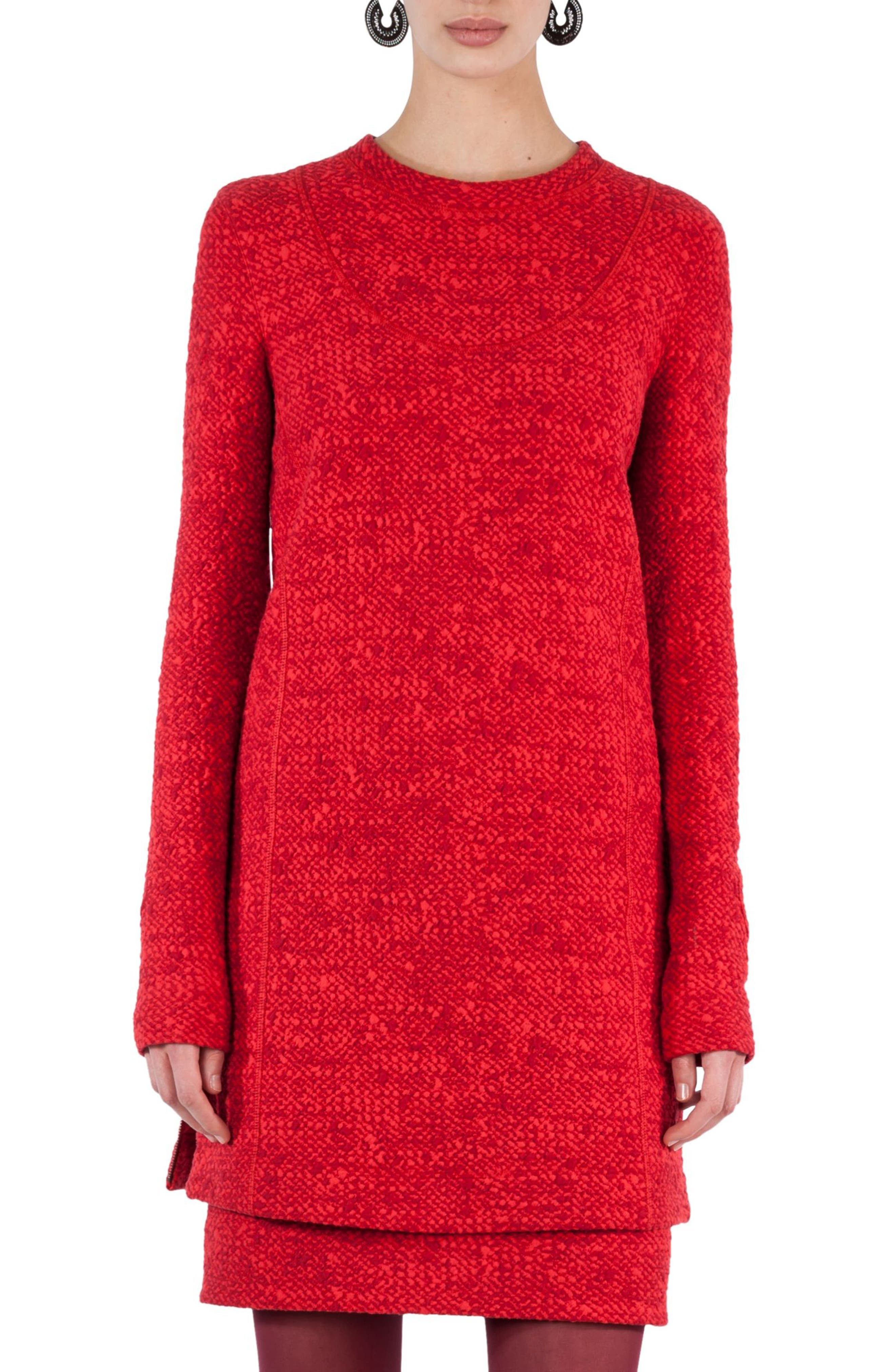 Mélange Knit Tunic Pullover,                         Main,                         color, Chili-Ruby