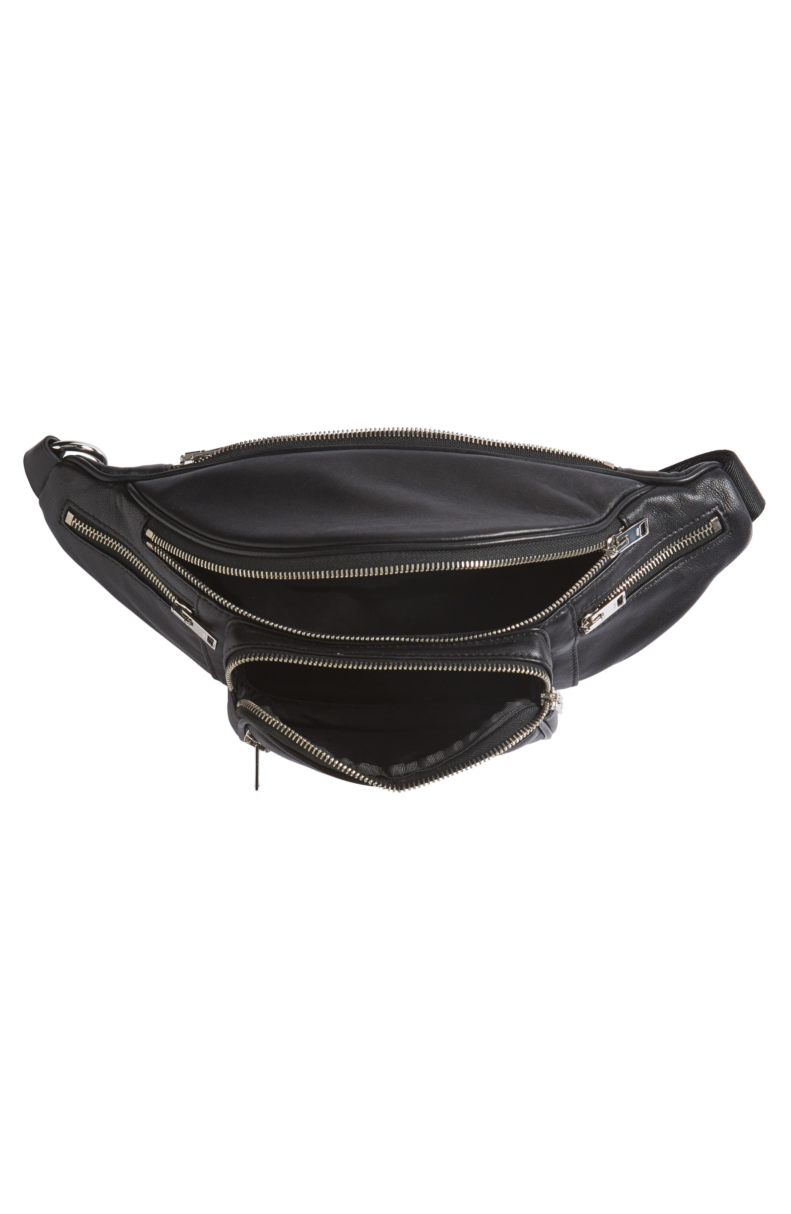 Washed Leather Fanny Pack,                             Alternate thumbnail 4, color,                             Black