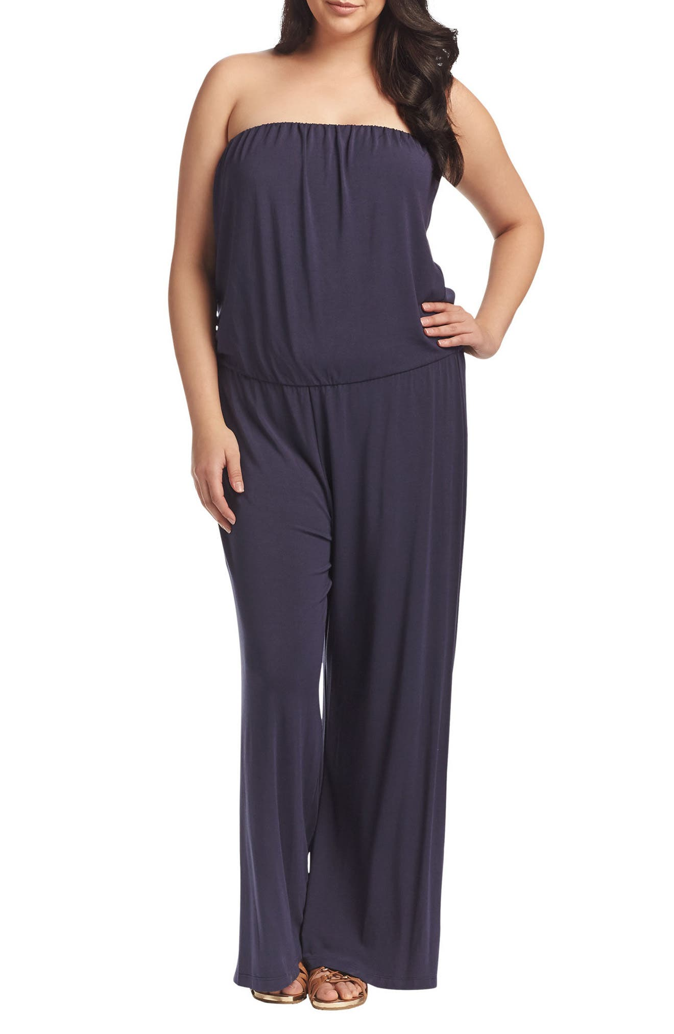 Valerie Strapless Jumpsuit,                             Main thumbnail 1, color,                             Peacoat