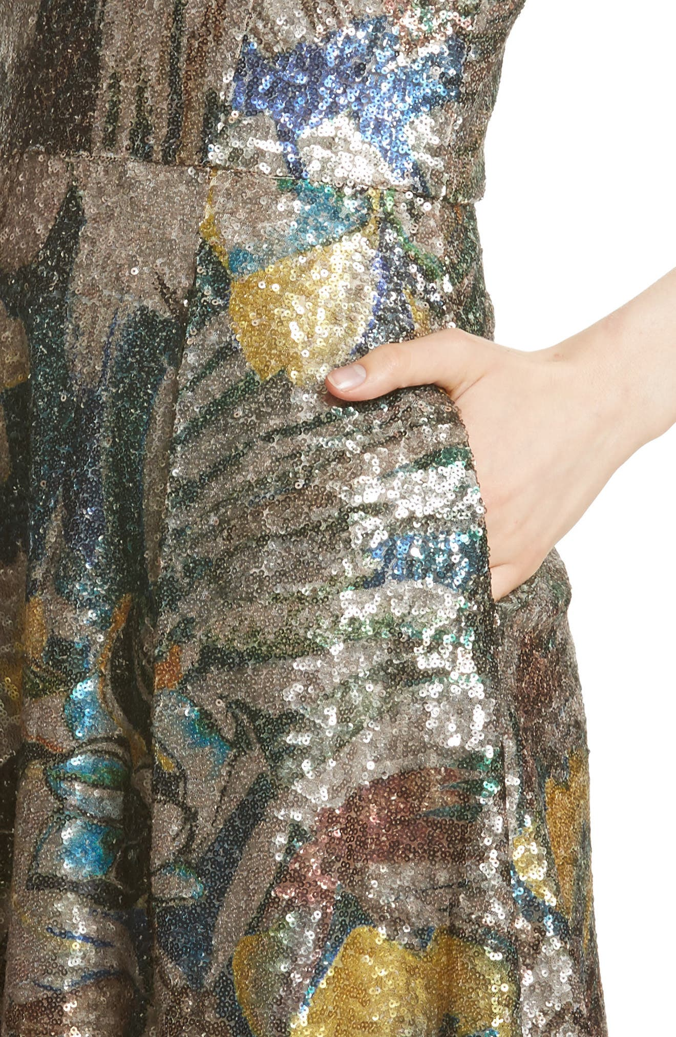 Sequin Fit & Flare Dress,                             Alternate thumbnail 6, color,                             Multicolor