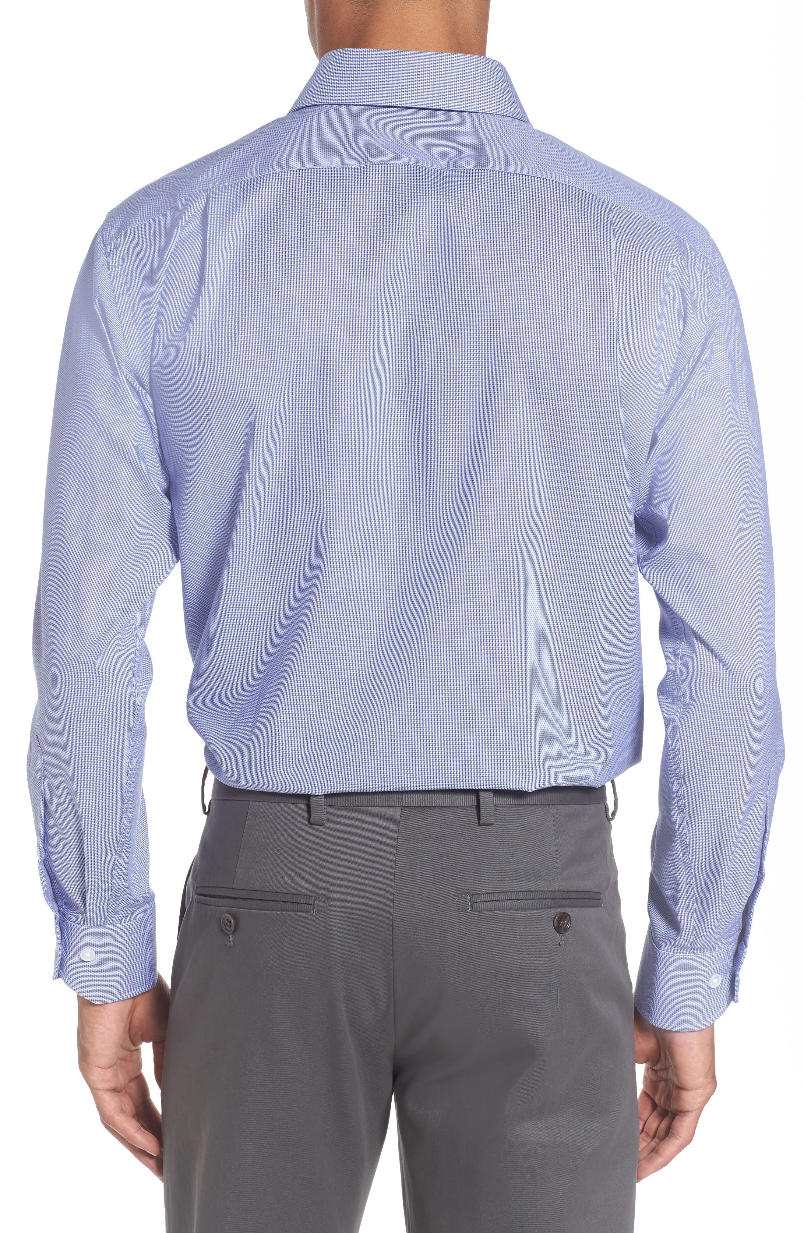 Trim Fit Solid Dress Shirt,                             Alternate thumbnail 2, color,                             Navy