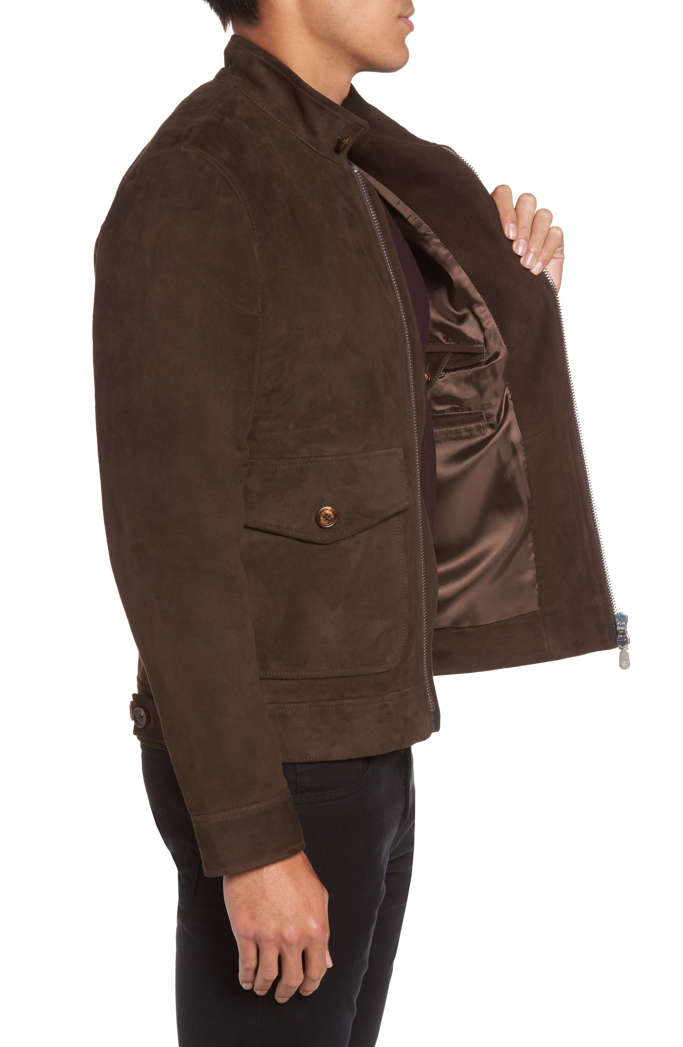 Suede Jacket,                             Alternate thumbnail 4, color,                             Chocolate Brown