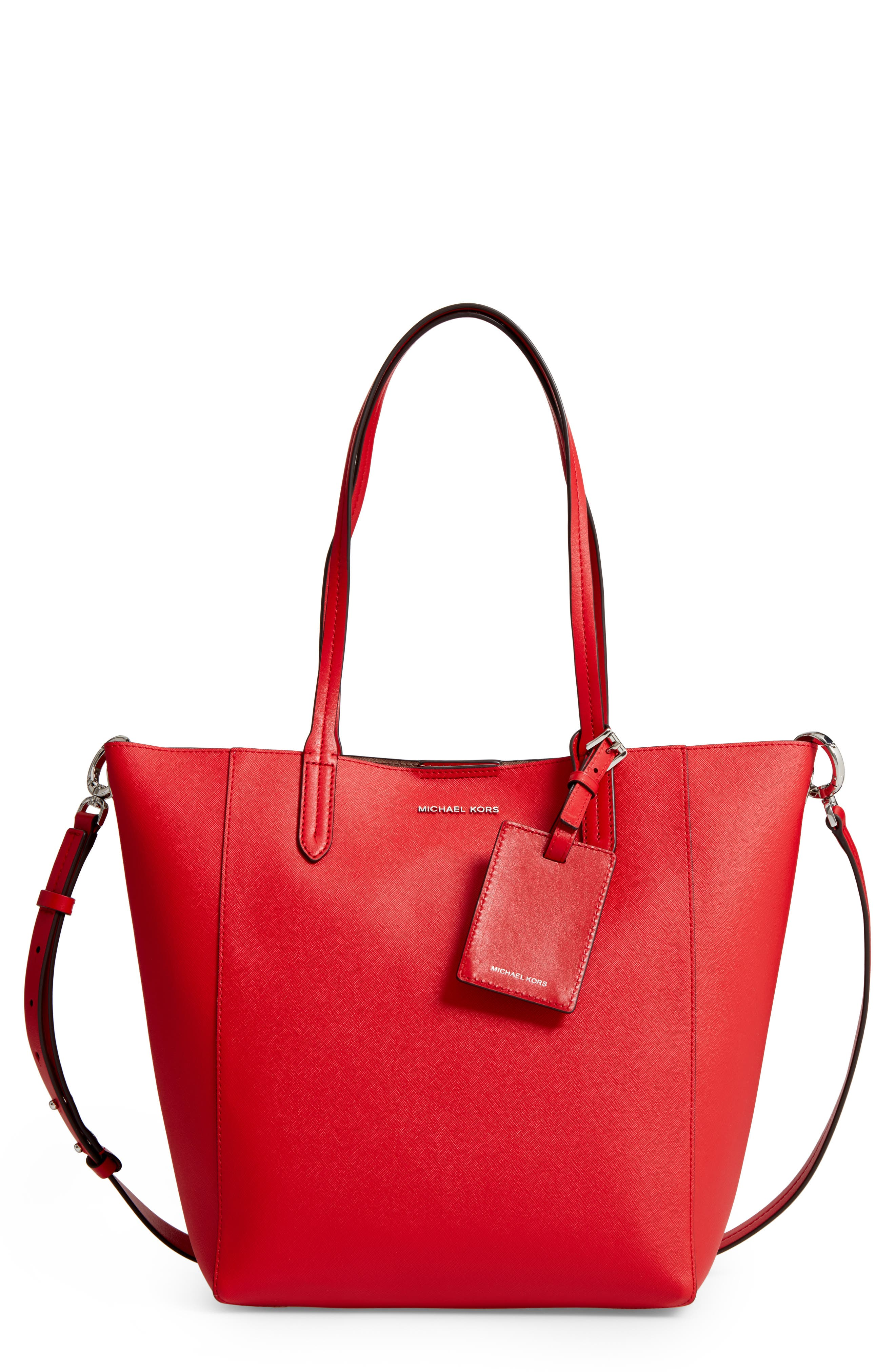 Penny Large Saffiano Convertible Leather Tote,                         Main,                         color, Bright Red