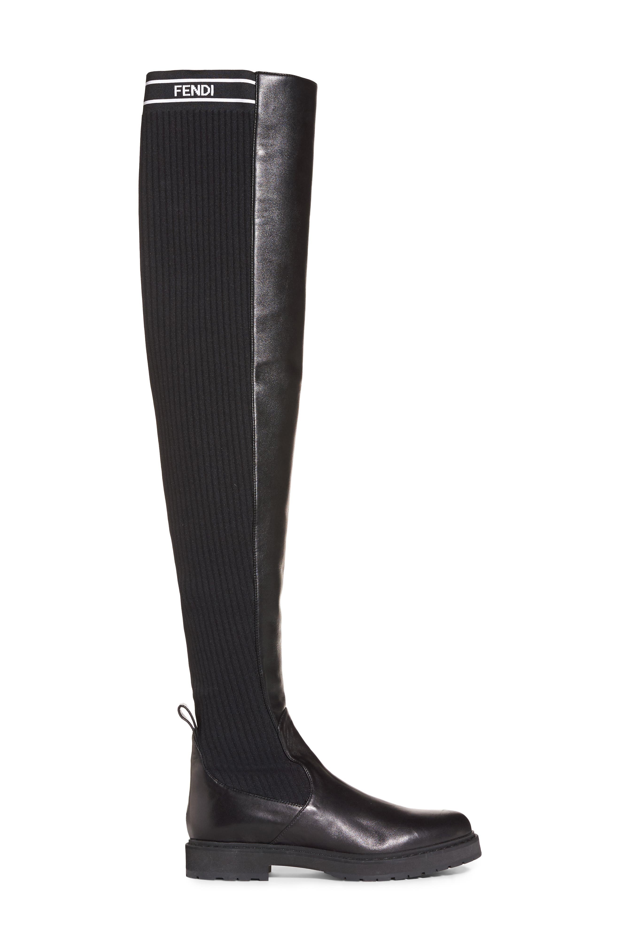 Logo Over the Knee Boot,                             Alternate thumbnail 4, color,                             Black Leather