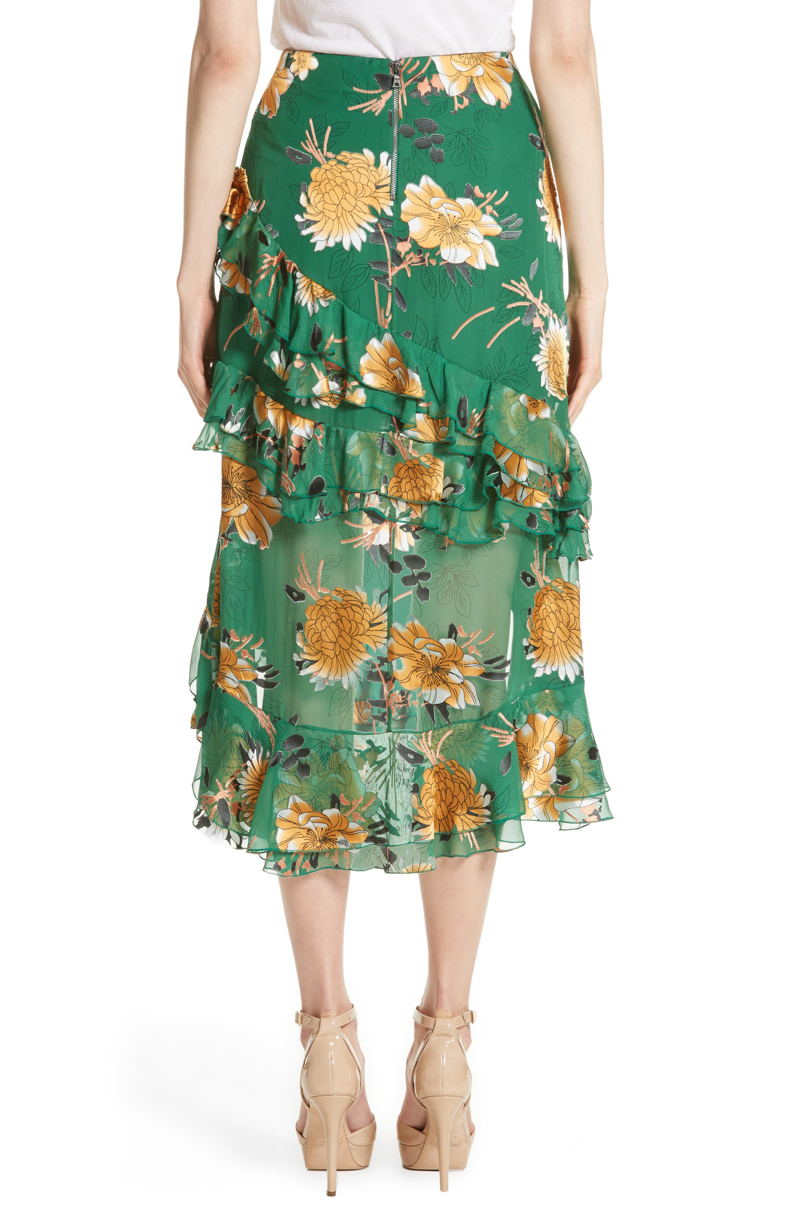 Alternate Image 2  - Alice + Olivia Sasha Ruffled Asymmetrical Floral Skirt