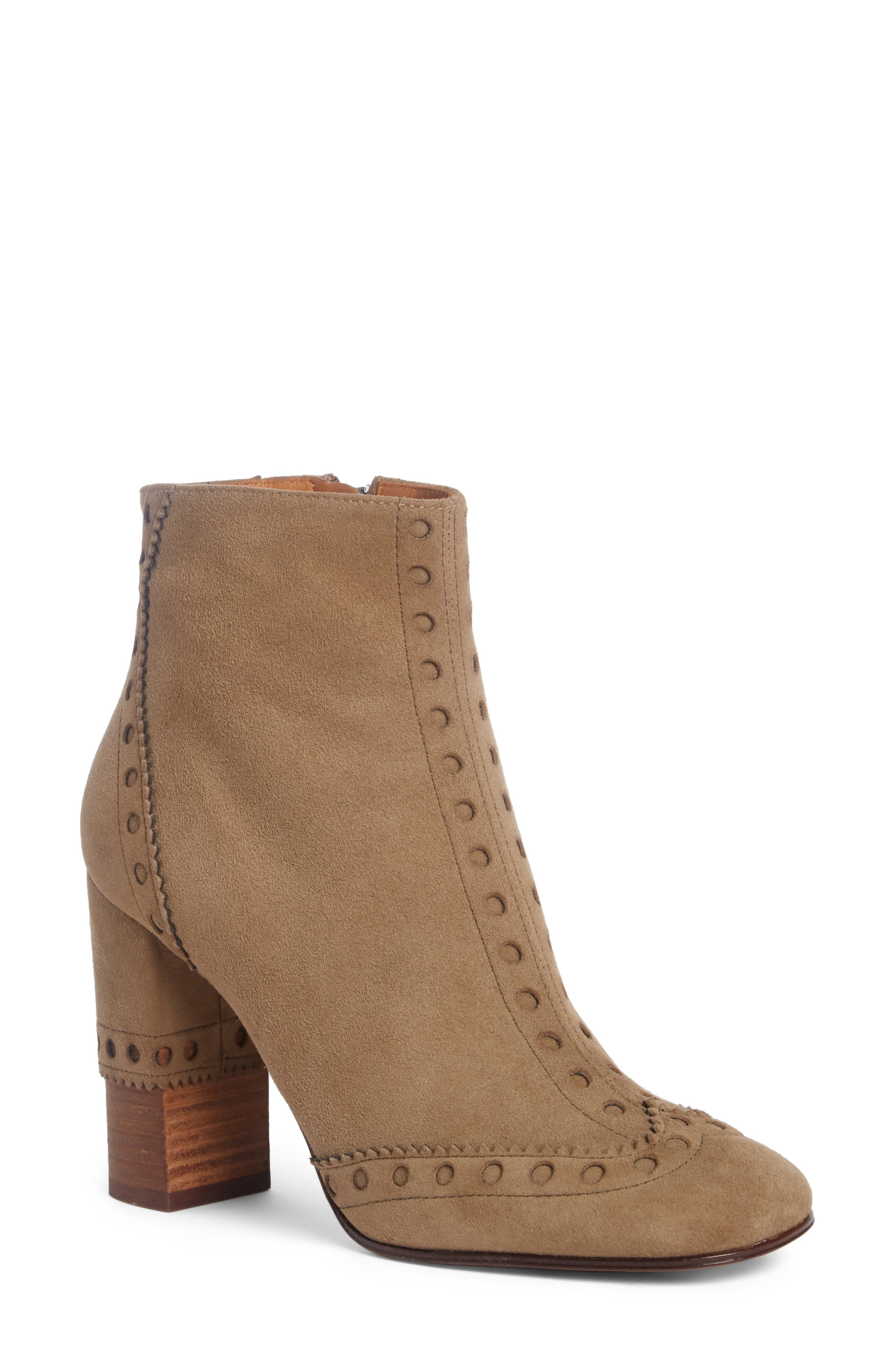 Perry Brogued Wingtip Bootie,                         Main,                         color, Maple Brown