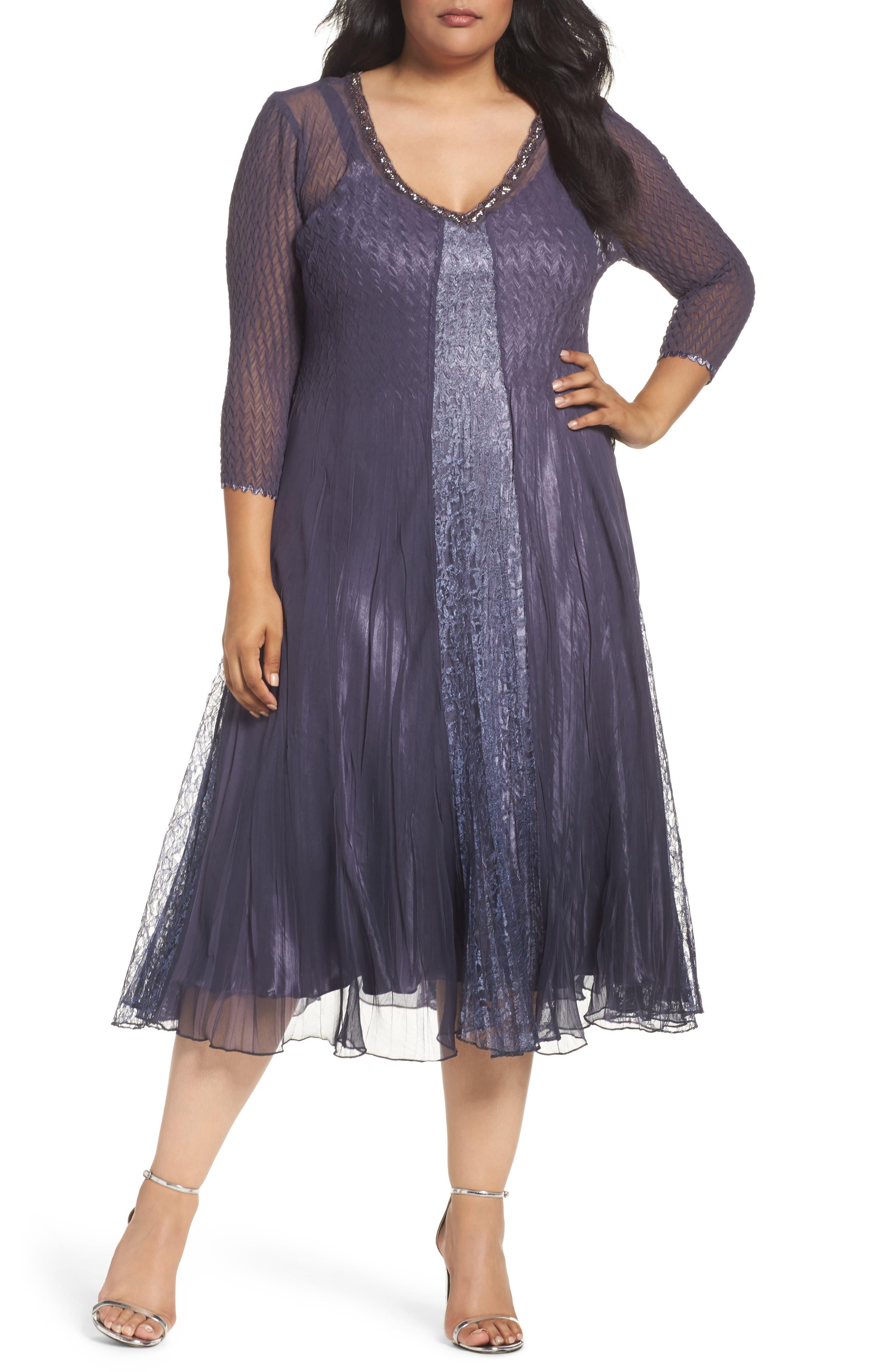 Komarov Embellished Lace & Chiffon A-Line Midi Dress (Plus Size)